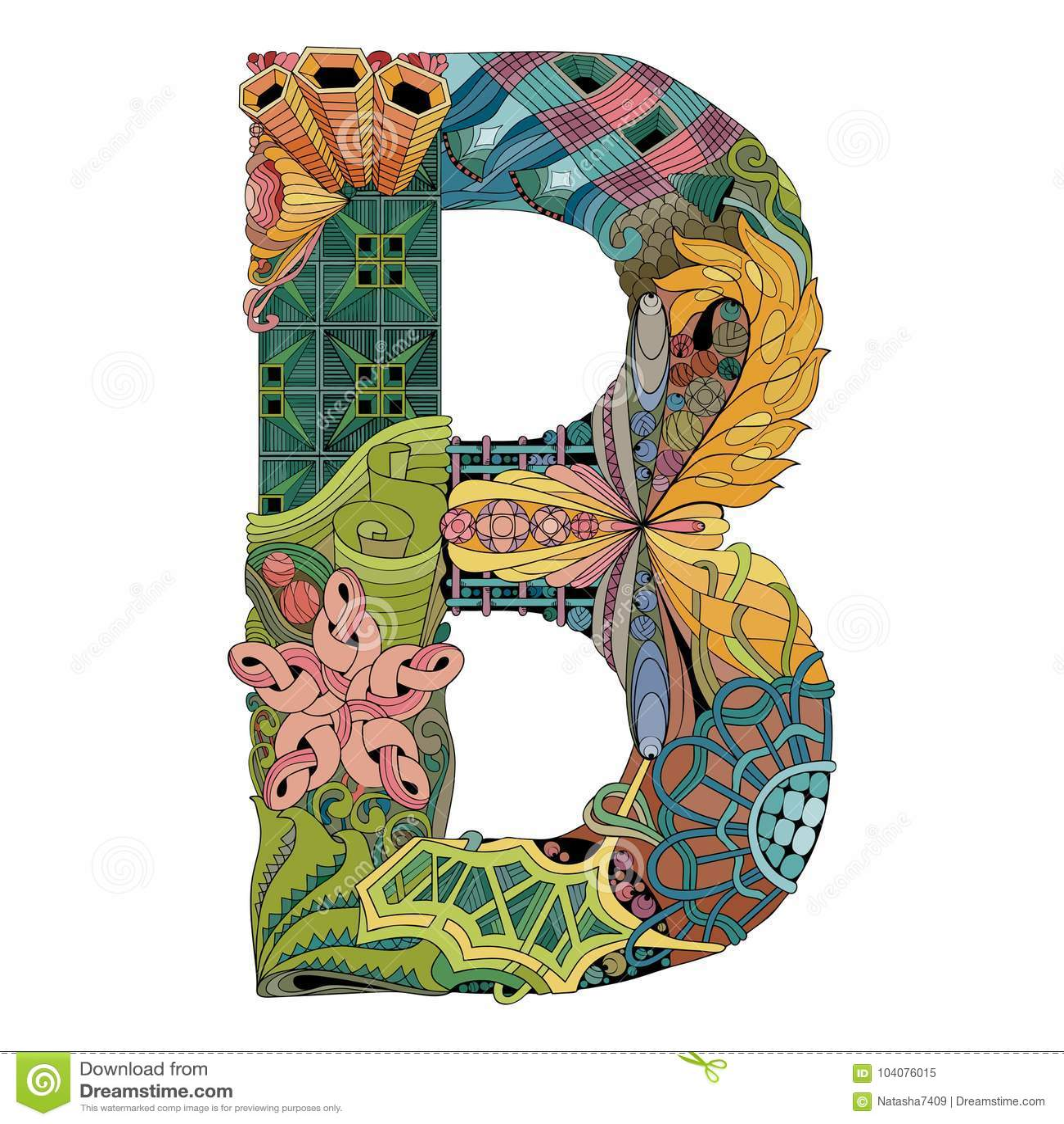 Letter B Zentangle. Vector Decorative Object Stock Vector