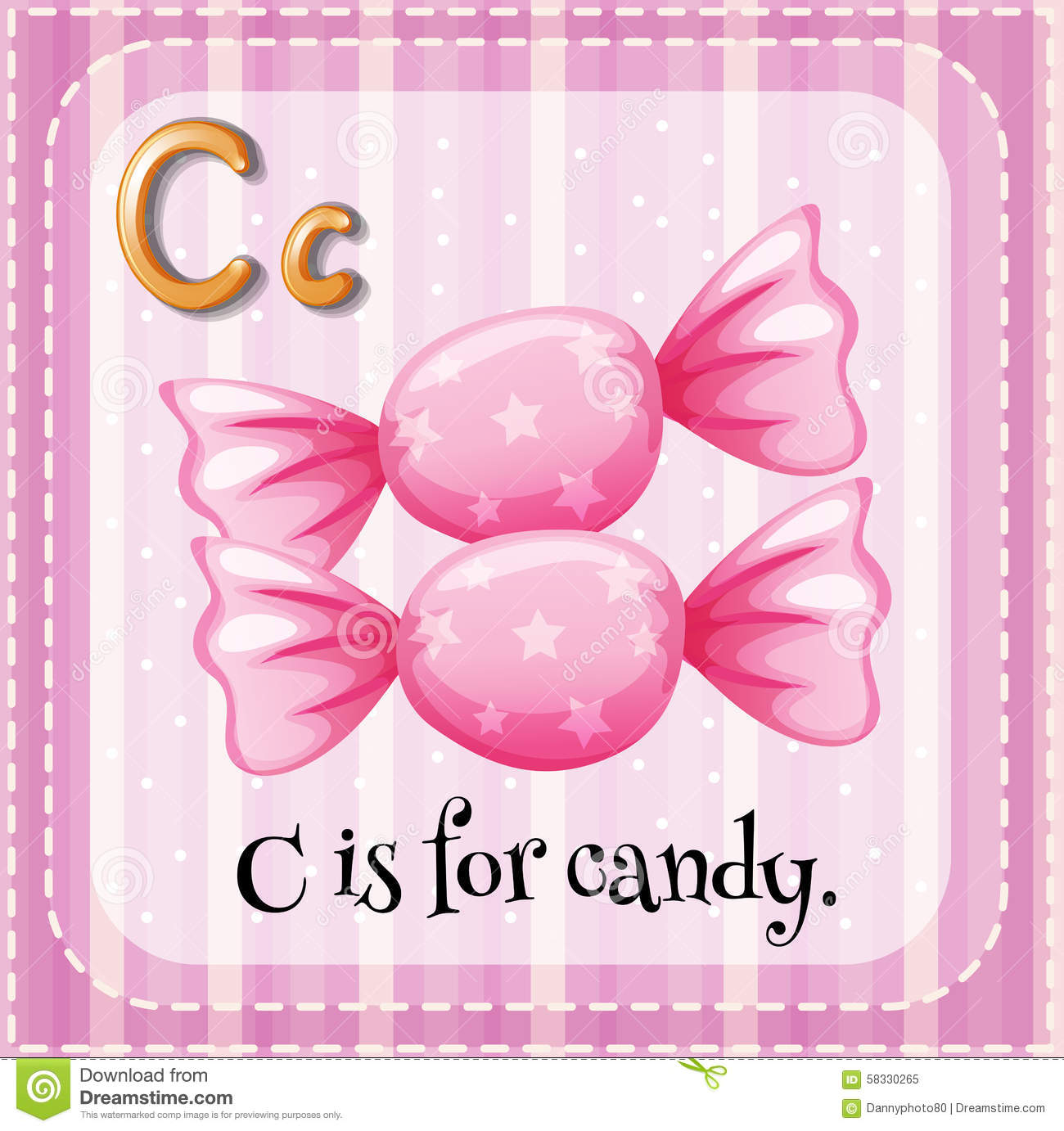Letter C is for candy stock vector. Illustration of phonatic - 58330265
