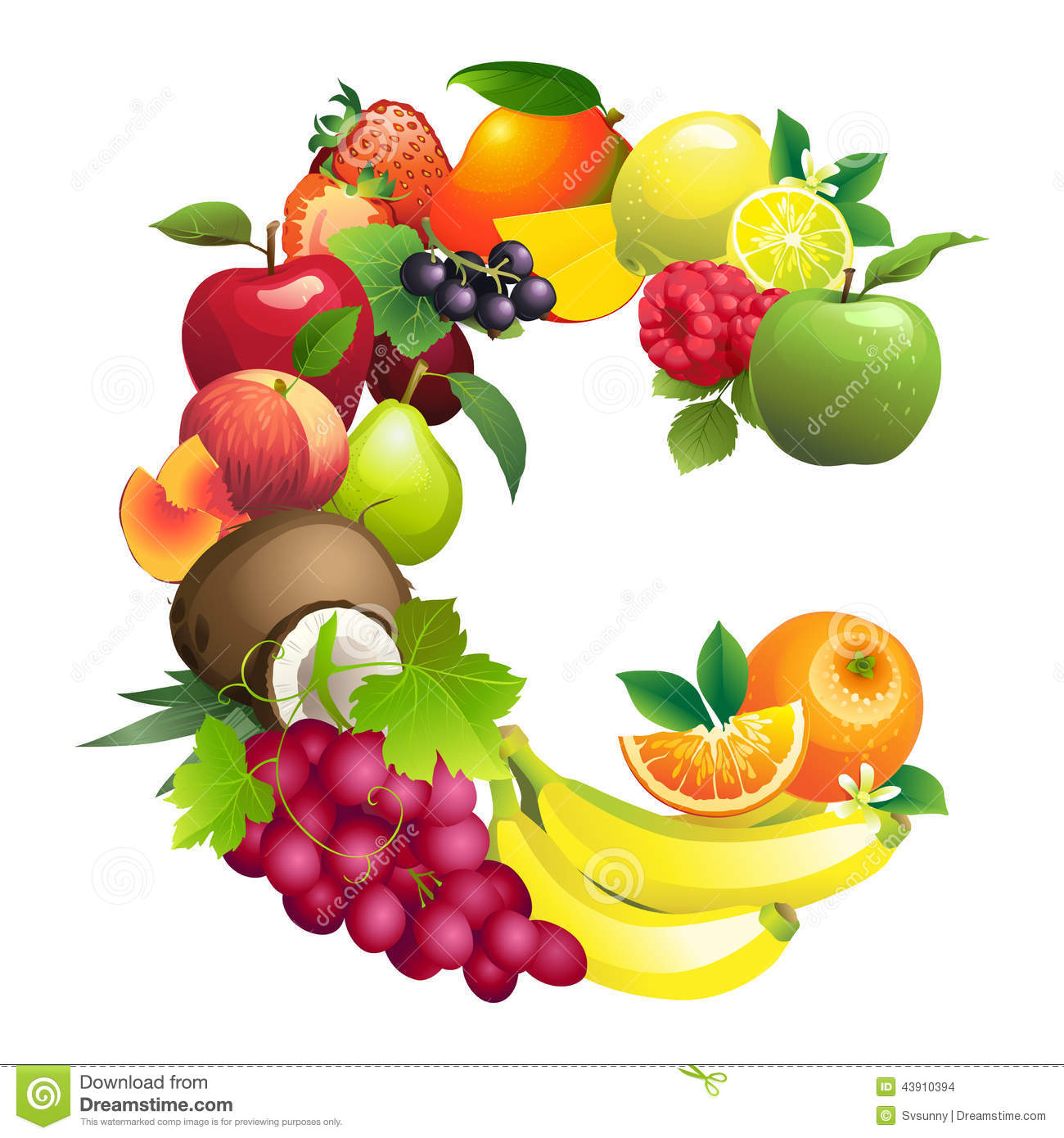 fruits that start with the letter c letter c composed of different fruits with leaves stock 21911 | letter c composed different fruits leaves vector illustration 43910394