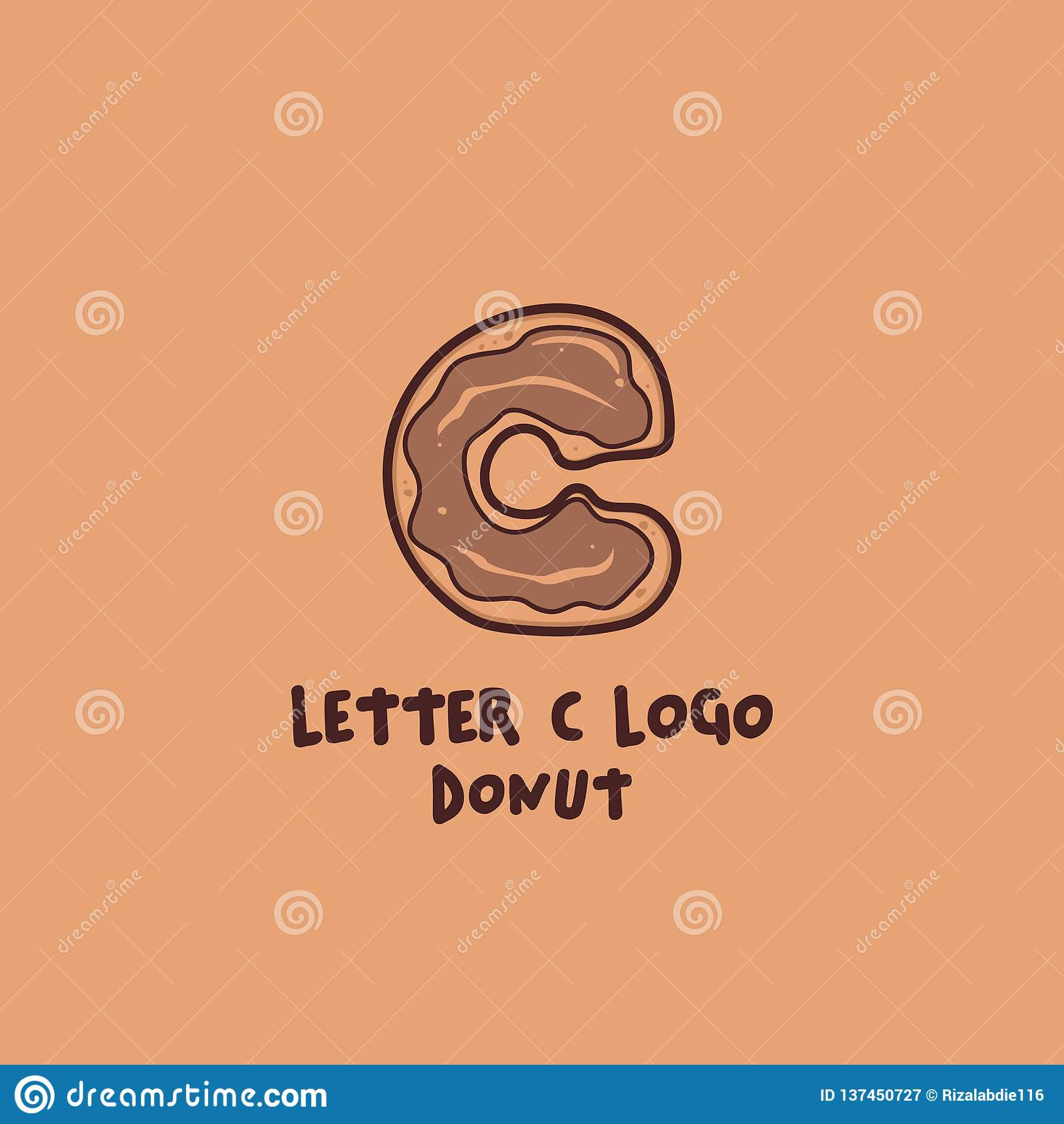 Letter C Donut Doughnut Logo, Food And Beverage Symbol Icon