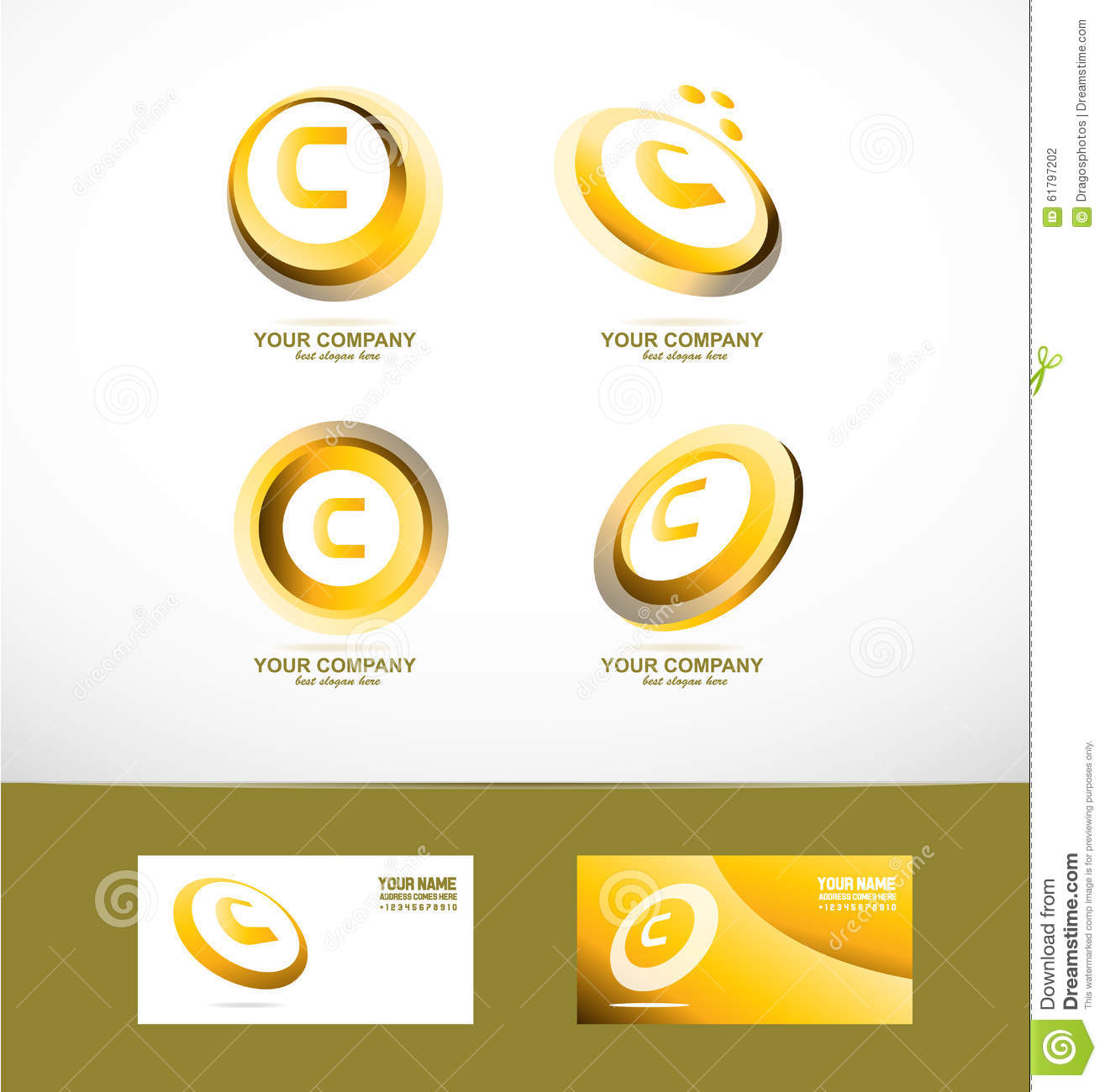 Letter c gold circle set icon stock vector illustration of logo letter c gold circle set icon biocorpaavc Images
