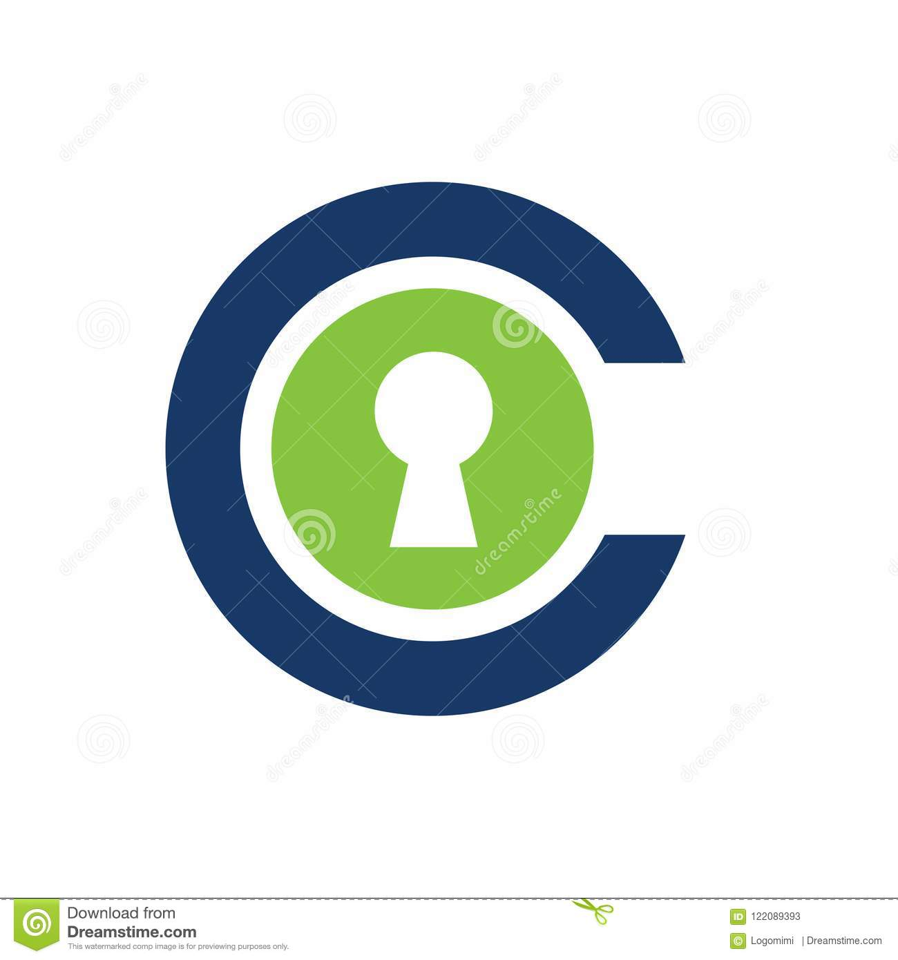 Letter C With Key Hole Logo Or Icon Template Initial Alphabet C