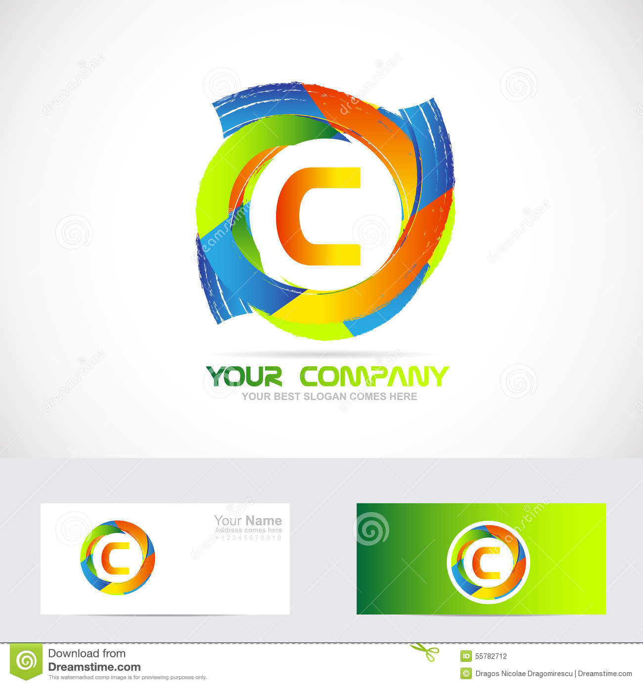 letter c logo colors stock vector image 55782712