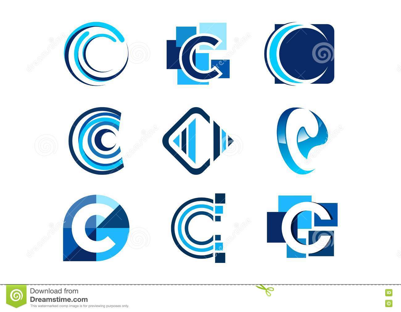 Letter c logo, concept abstract elements company logos, set of abstract logos business collections symbol icon vector design