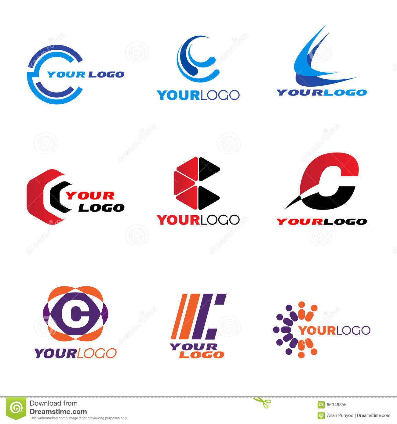 letter c logo vector set design stock vector