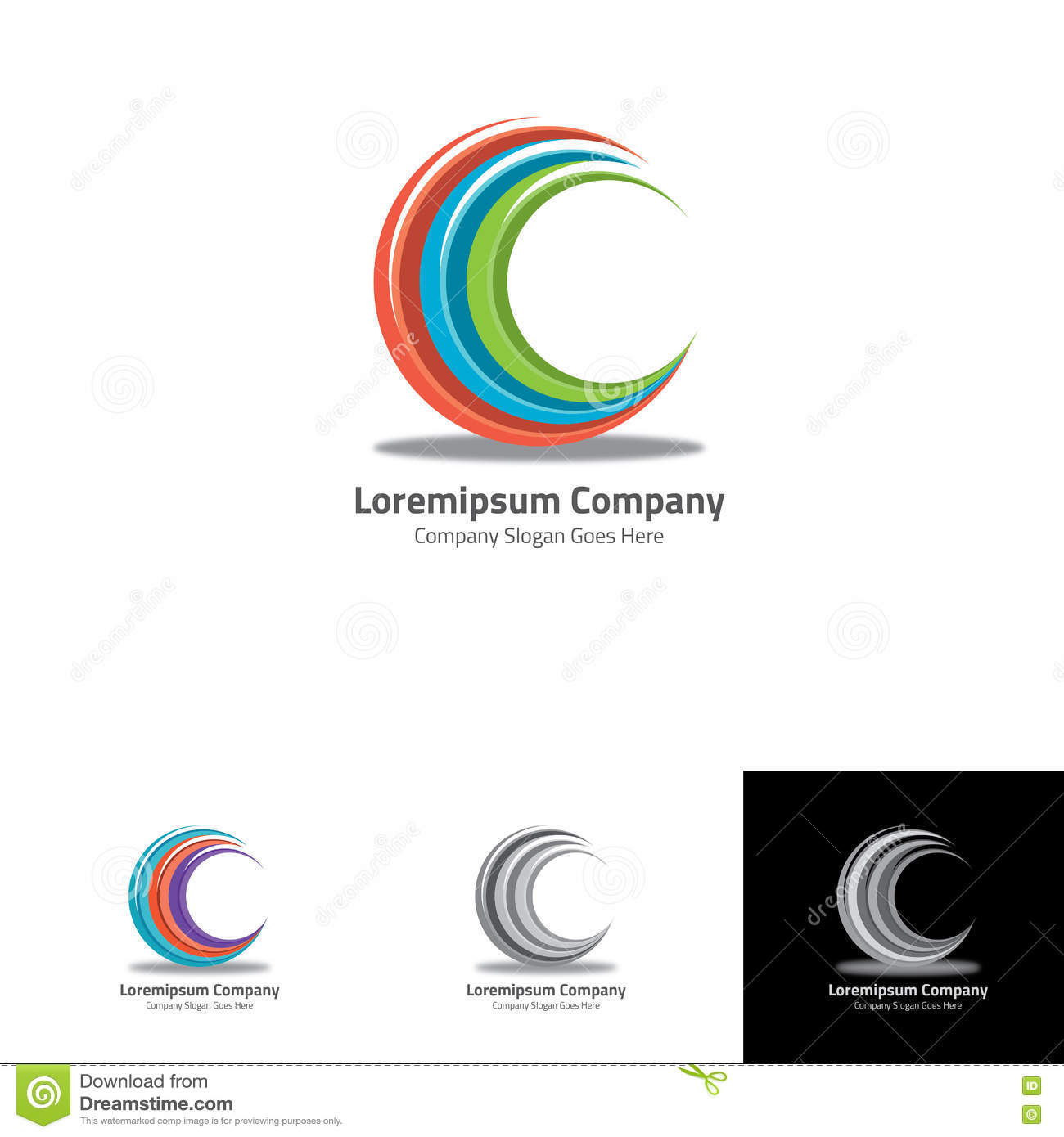 letter c made by circle grid system for clean business stock vector