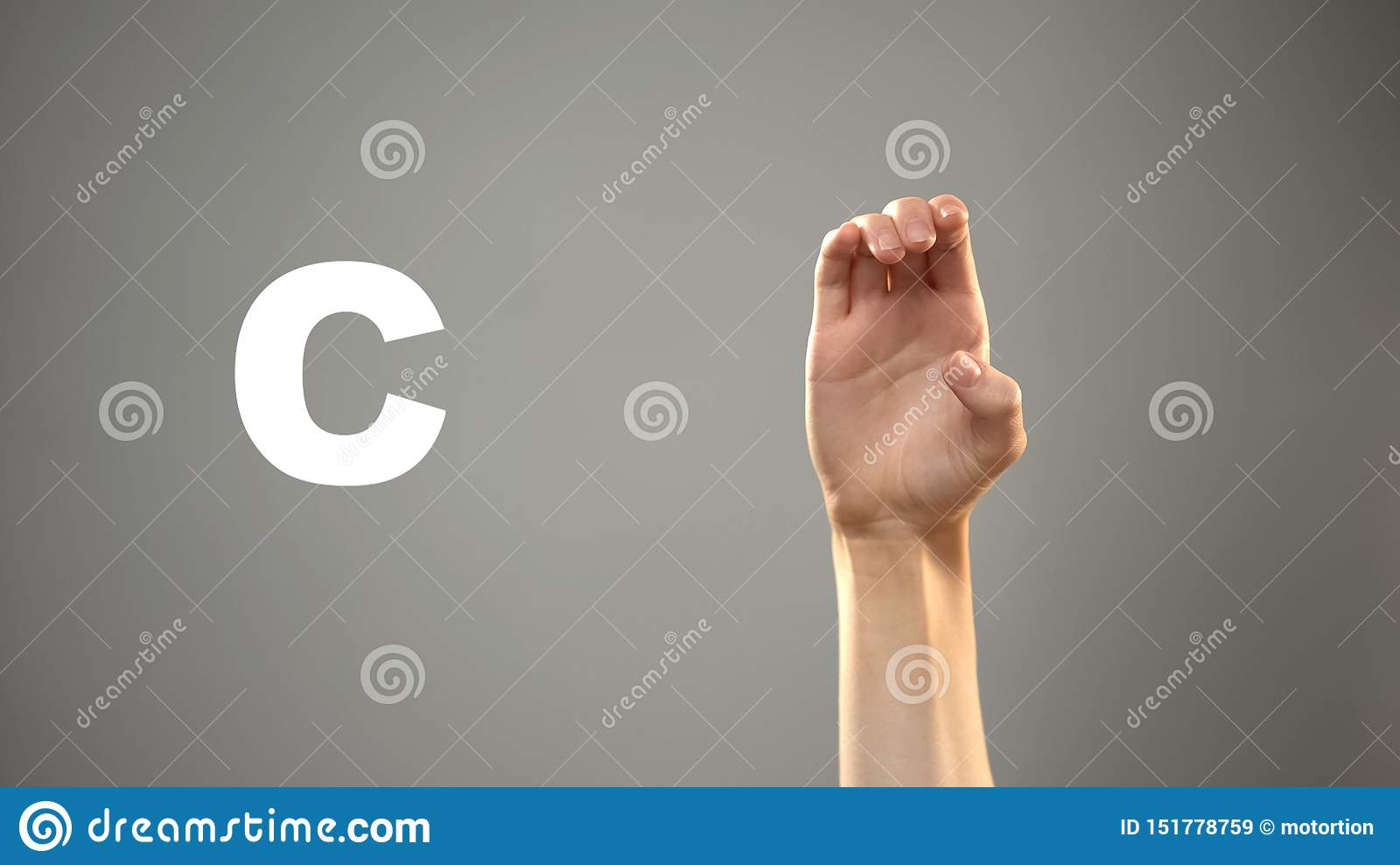 Letter C in sign language, hand on background, communication for deaf, lesson