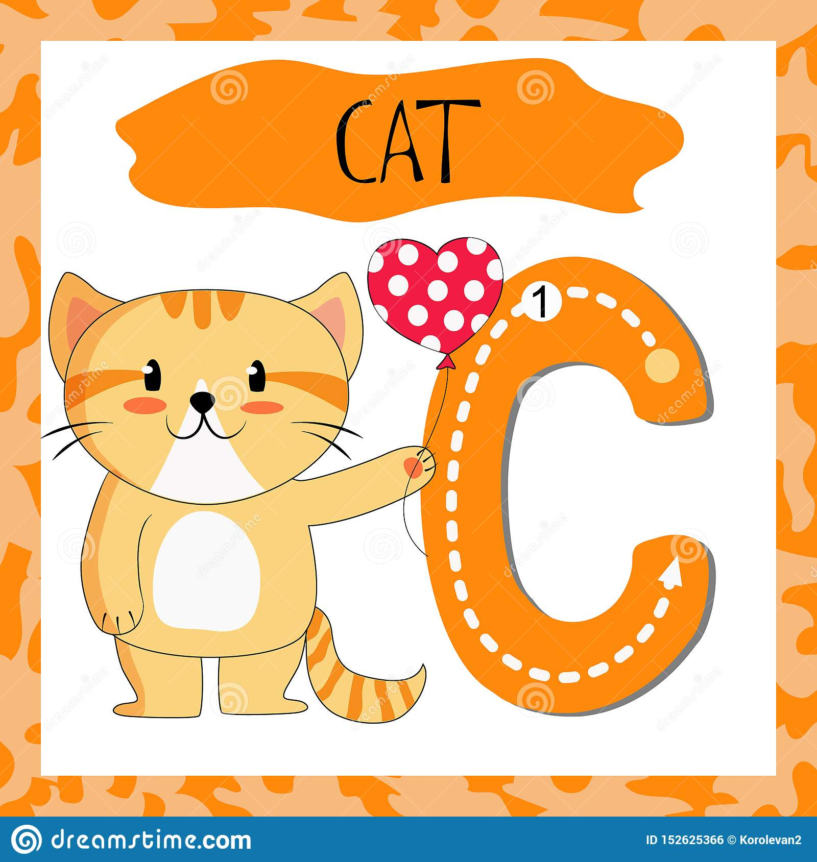 Letter C Uppercase Cute Children Colorful Zoo And Animals Stock ...
