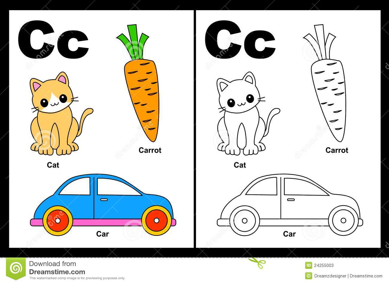 Alphabet letter C with colorful cliparts and coloring graphics ...