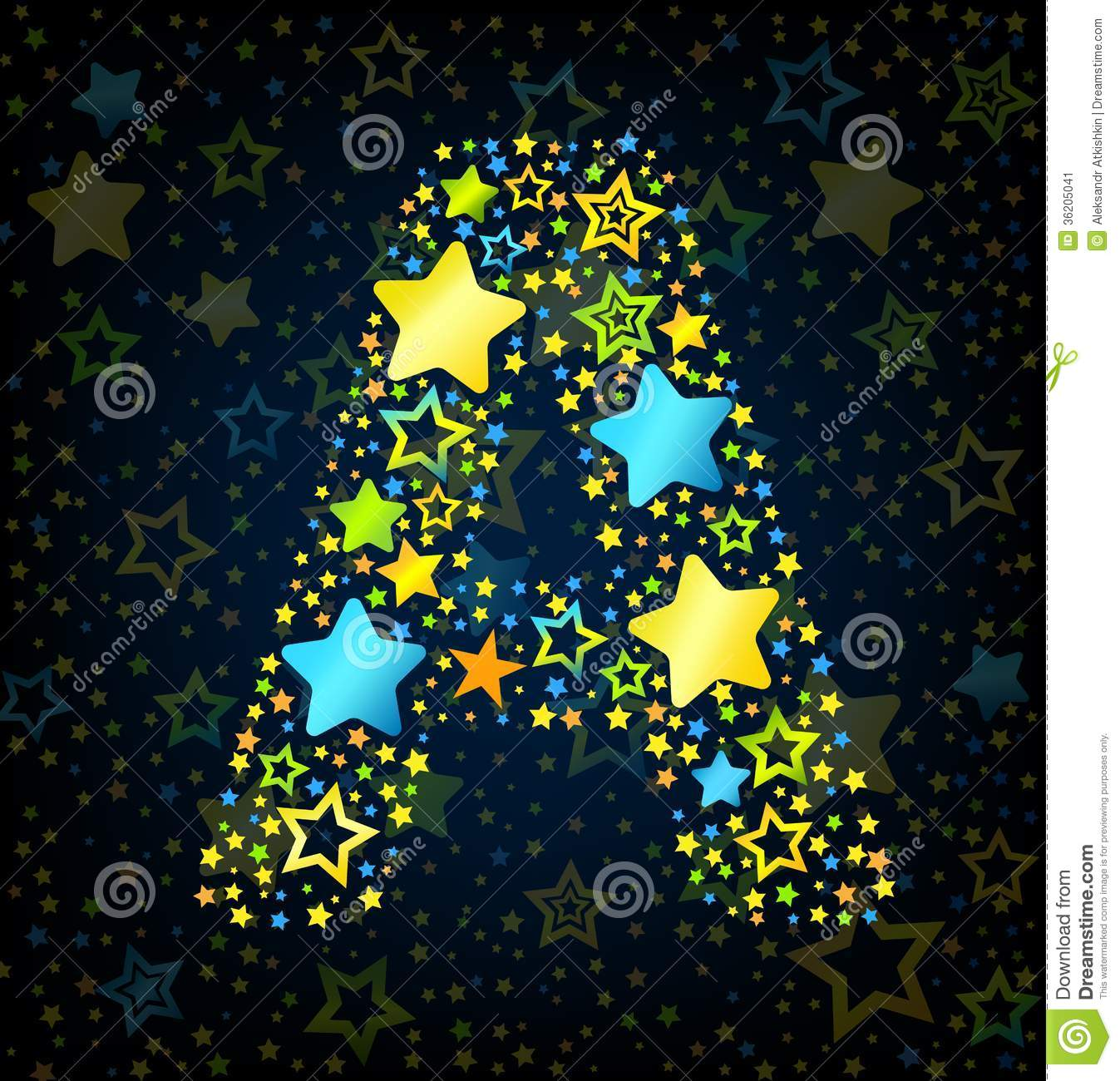 Letter A Cartoon Star Colored Stock Image Image 36205041