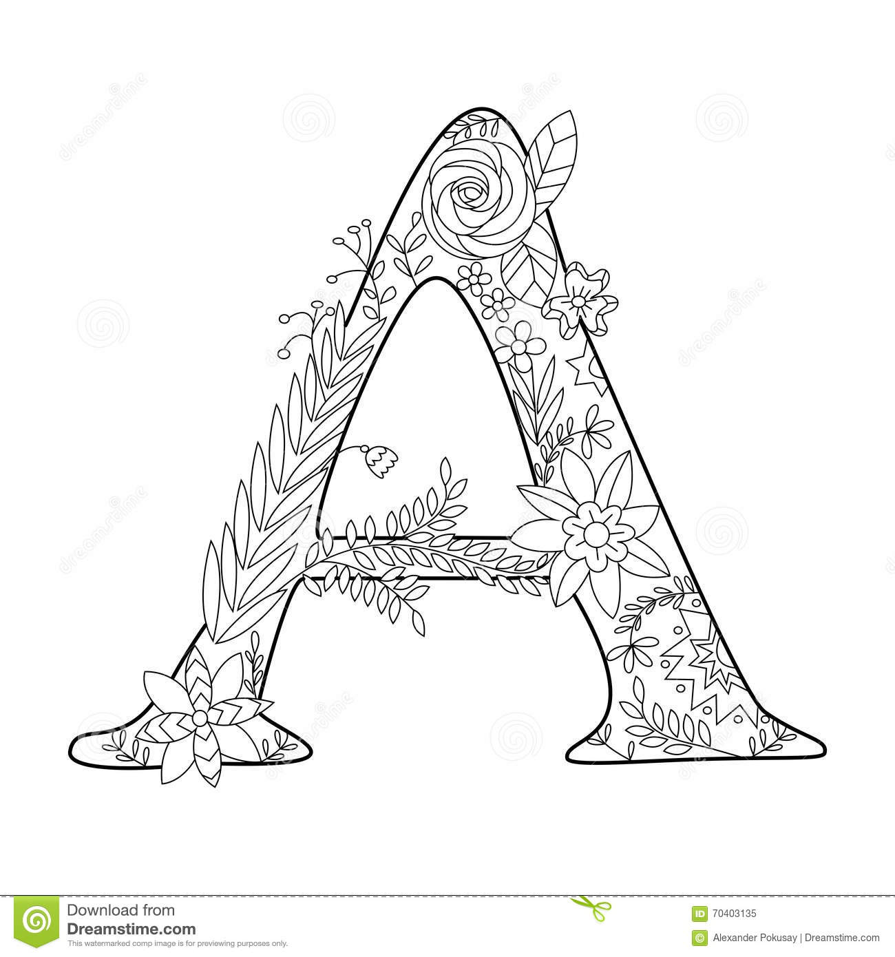 Letter A Coloring Book For Adults Vector Stock