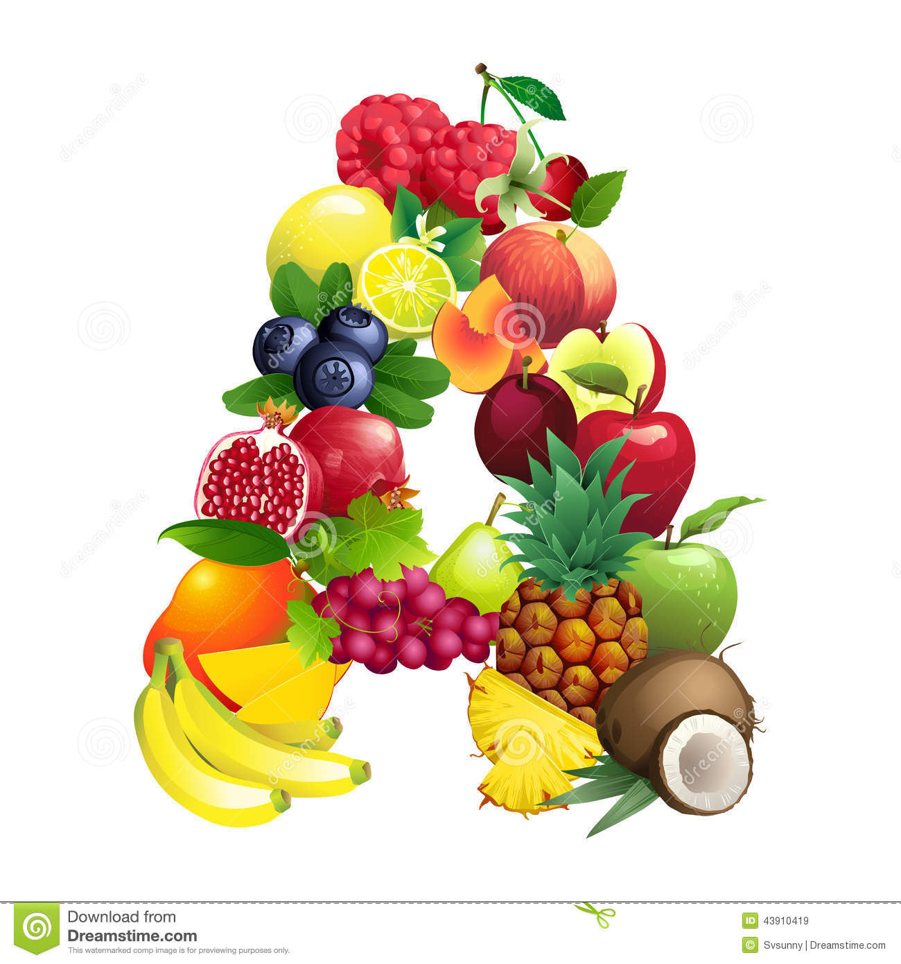 Letter A Composed Of Different Fruits With Leaves Stock