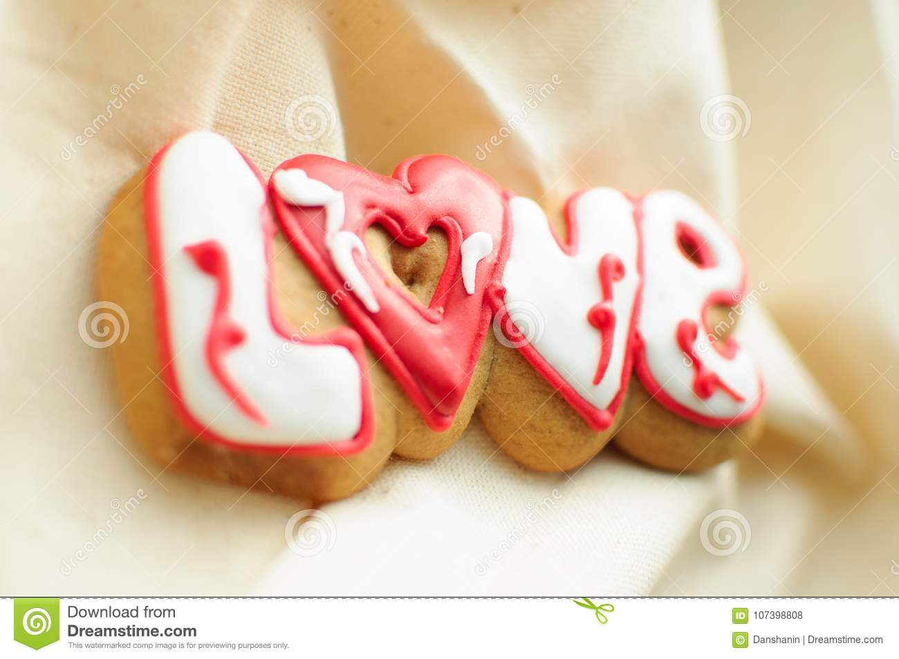 Letter Cookies For Valentine`s Day Or For A Wedding Day On The ...