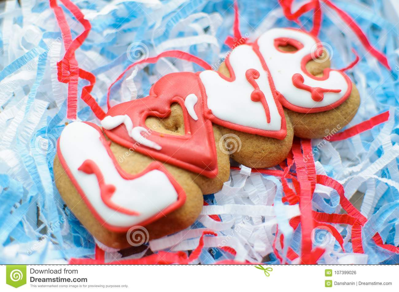 Letter Cookies For Valentine`s Day Or For A Wedding Day On The Blue ...