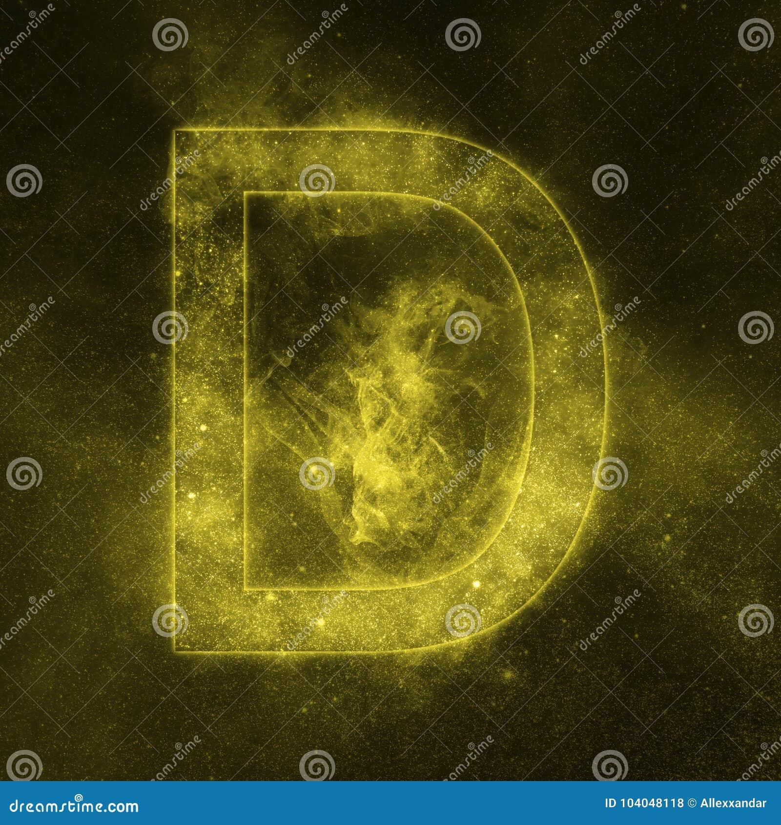Letter D alphabet symbol. Space Letter, Night Sky Letter.