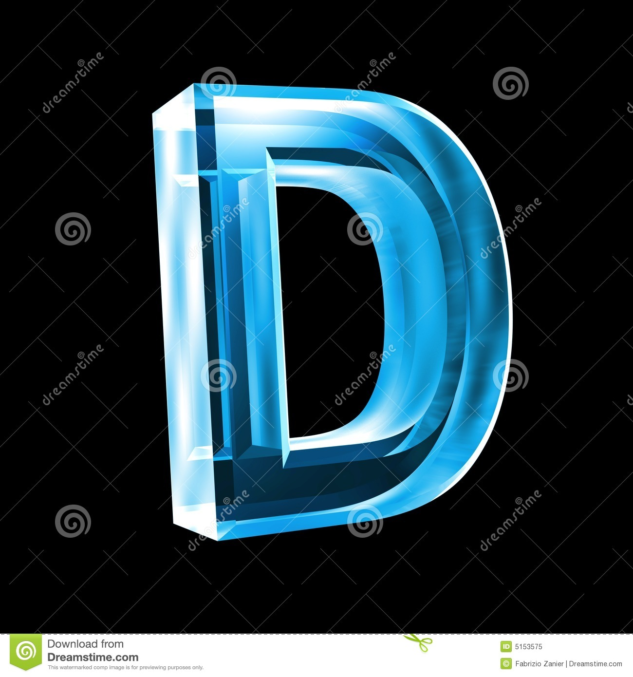 Letter D In Blue Glass 3D Royalty Free Stock Photo