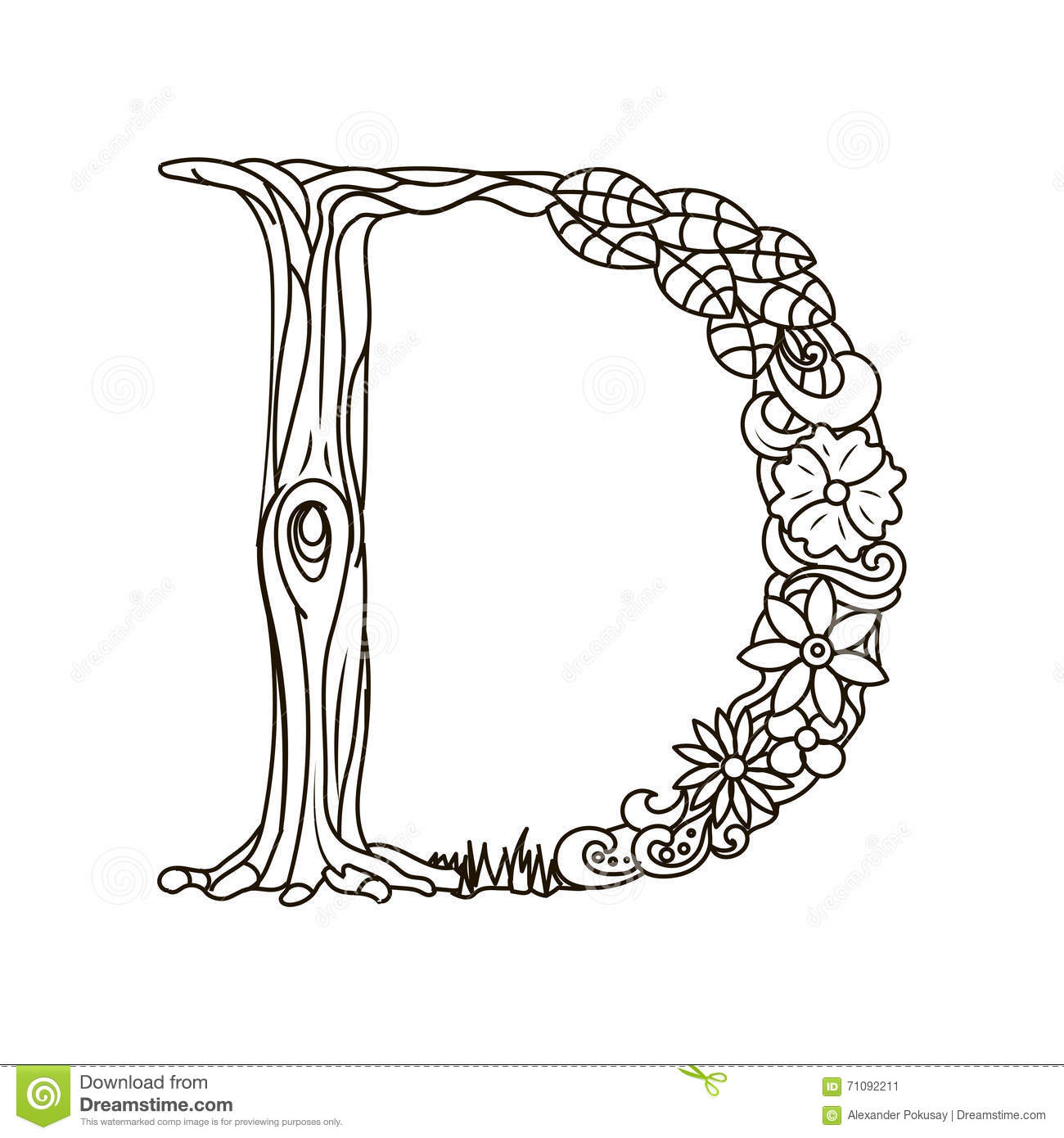 Letter D Coloring Book For Adults Vector Stock Image