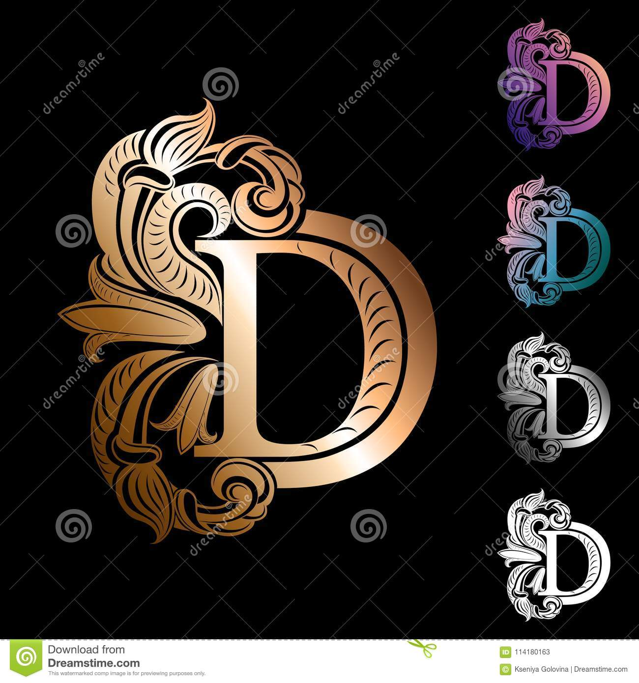 Letter D, Decorated With Vintage, Elegant Flowers And