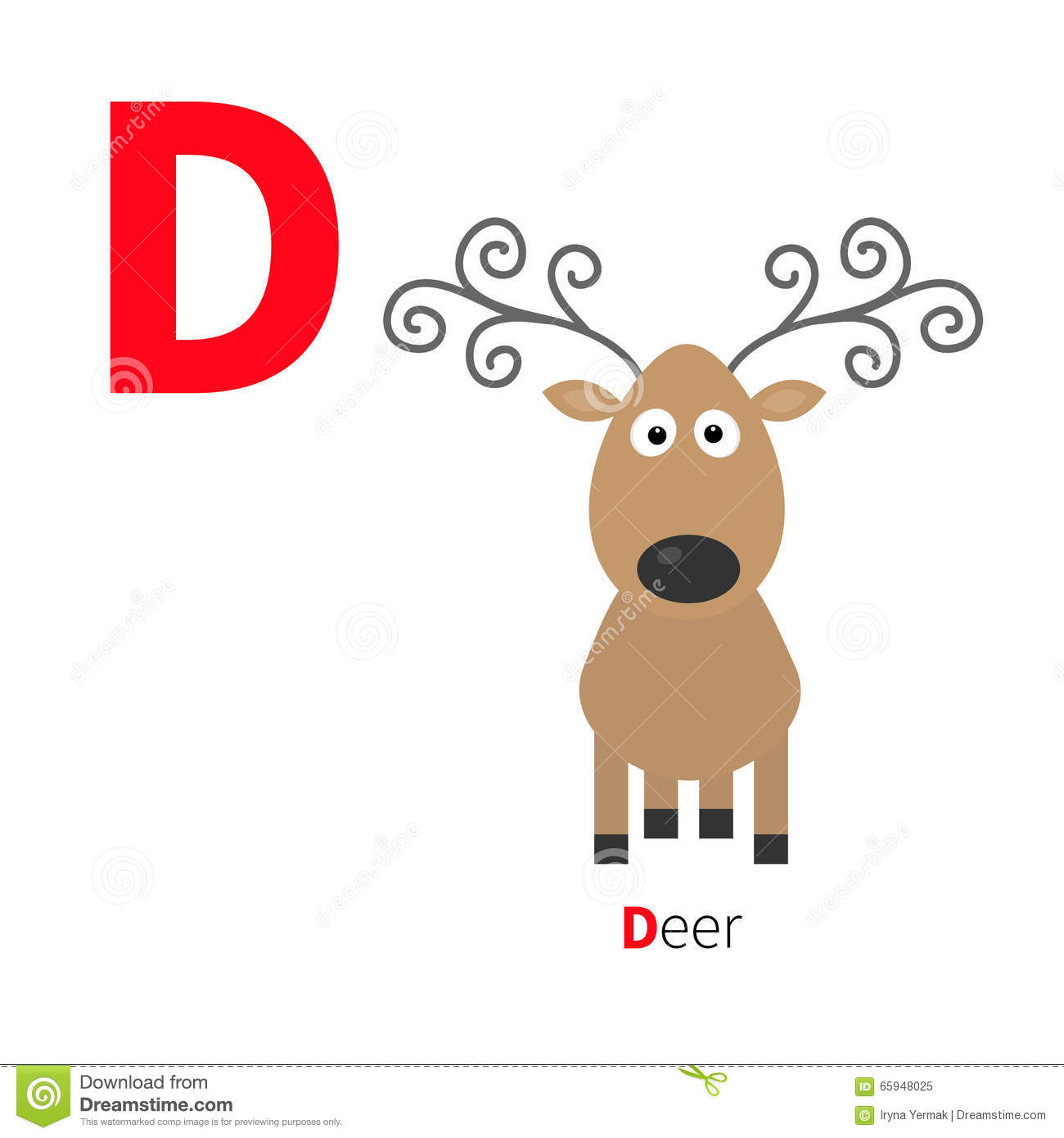 letter d deer zoo alphabet english abc with animals education cards