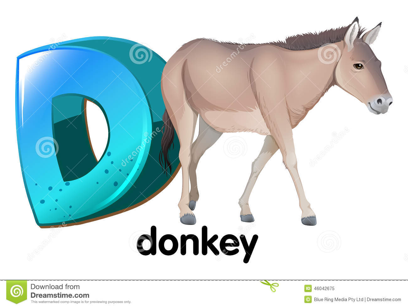 A Letter D For Donkey Stock Vector Image 46042675