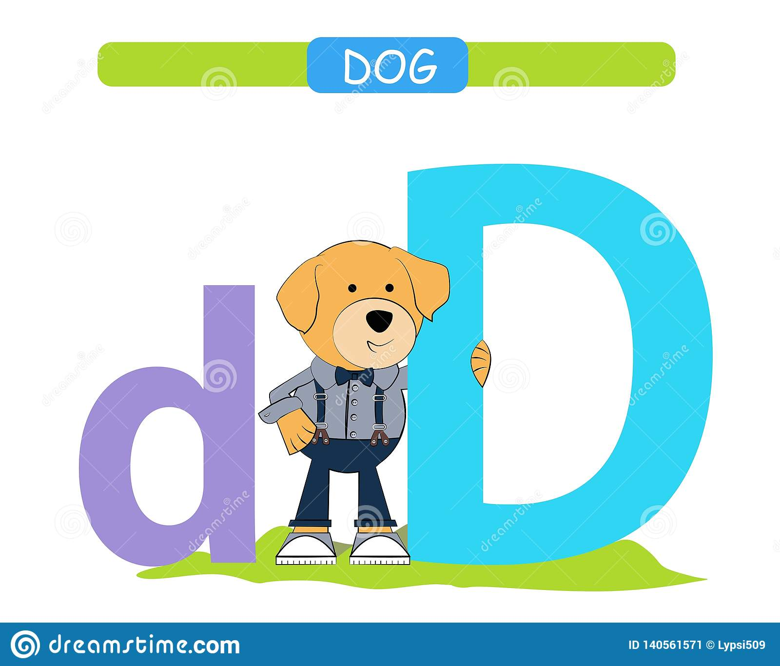 7cd9a8f93 Letter D and funny cartoon dog. Animals alphabet a-z. Cute zoo alphabet in  vector