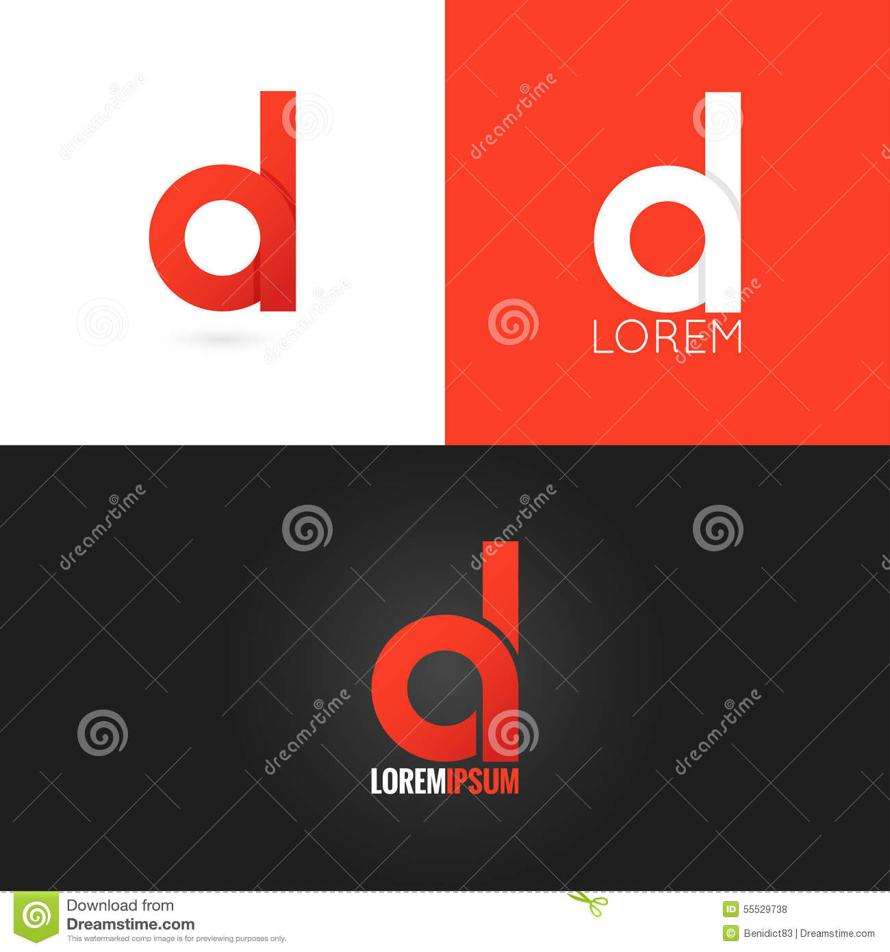Letter d logo design icon set background stock vector for D for design