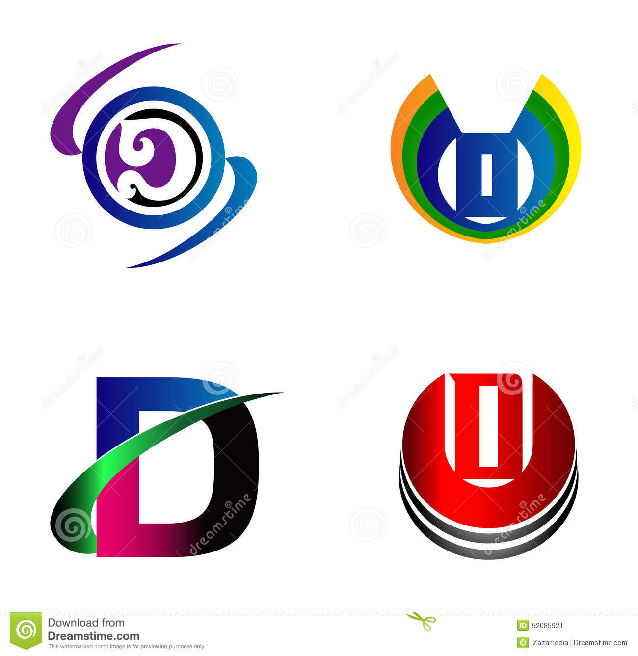 letter d logo design sample icon set stock illustration