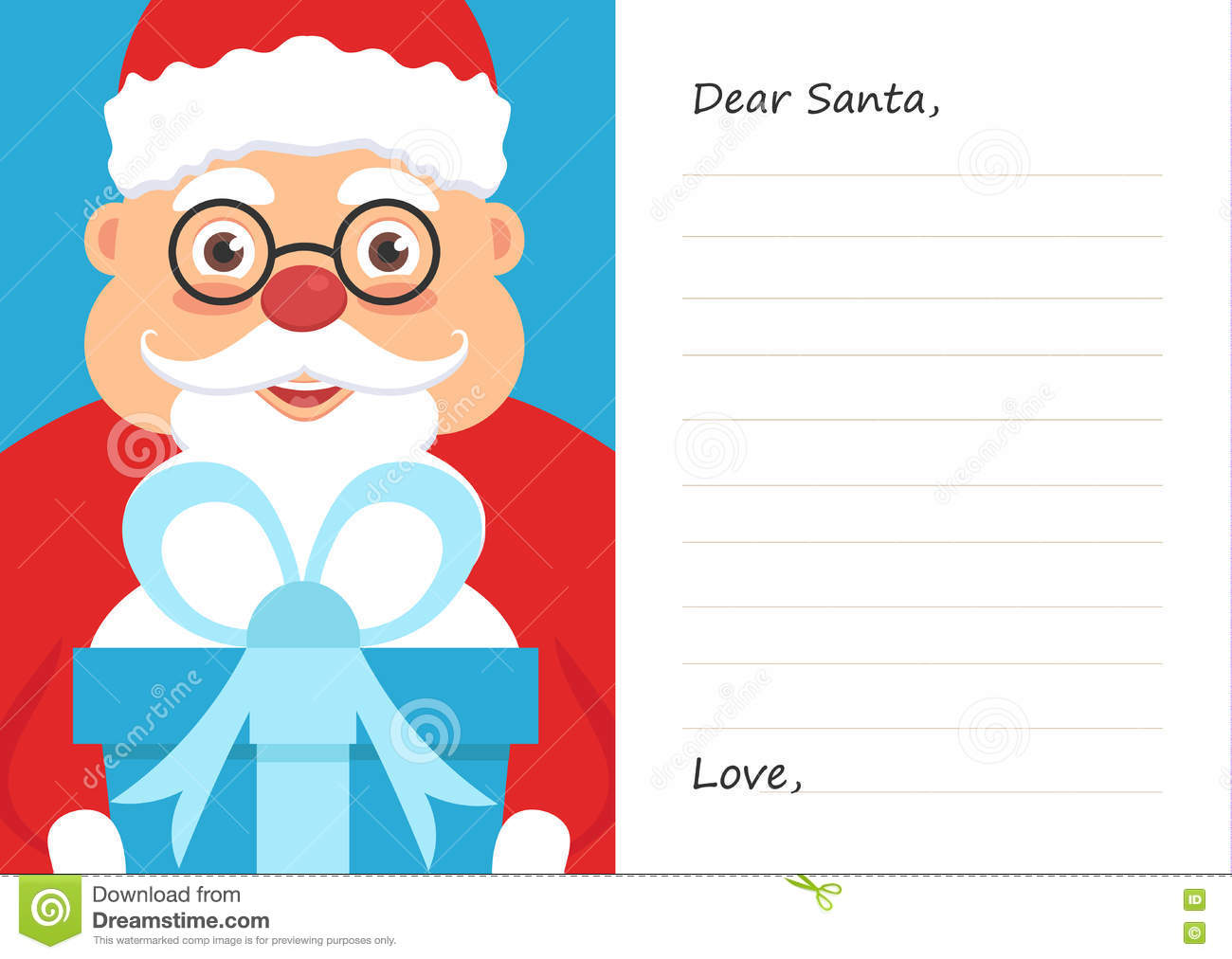 letter dear santa claus for merry christmas or new year postcard or greeting card template