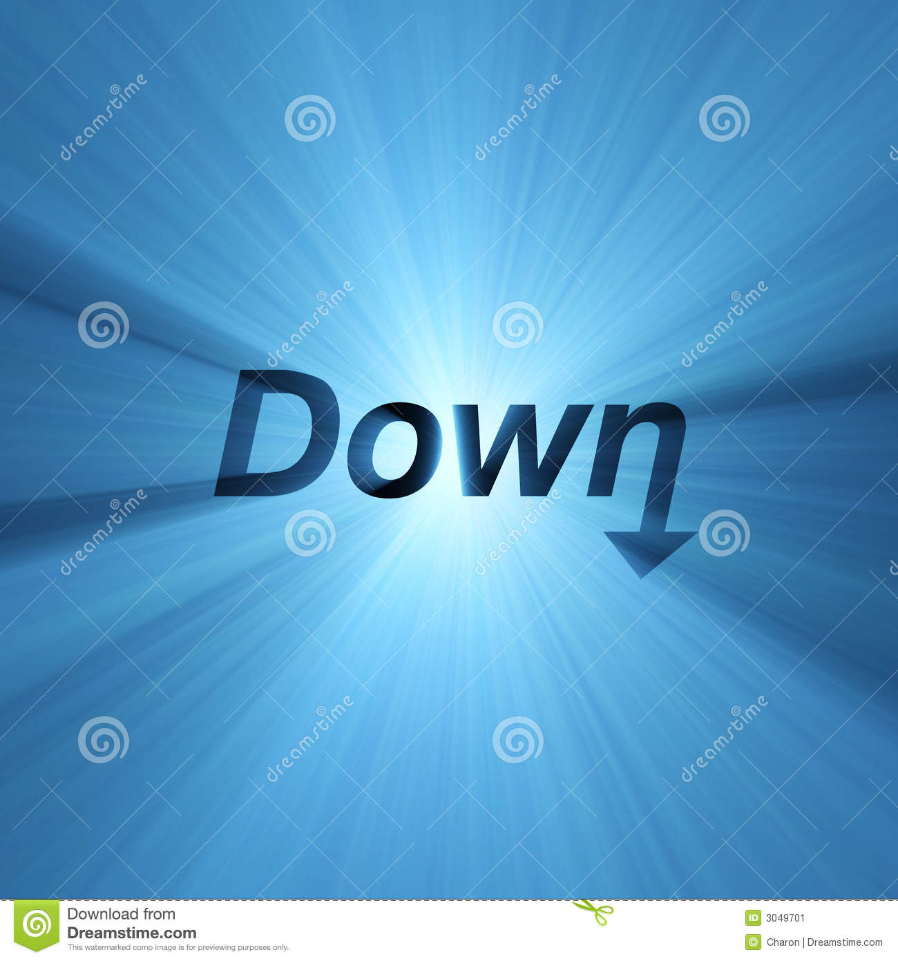 word down arrow sign light flare stock image