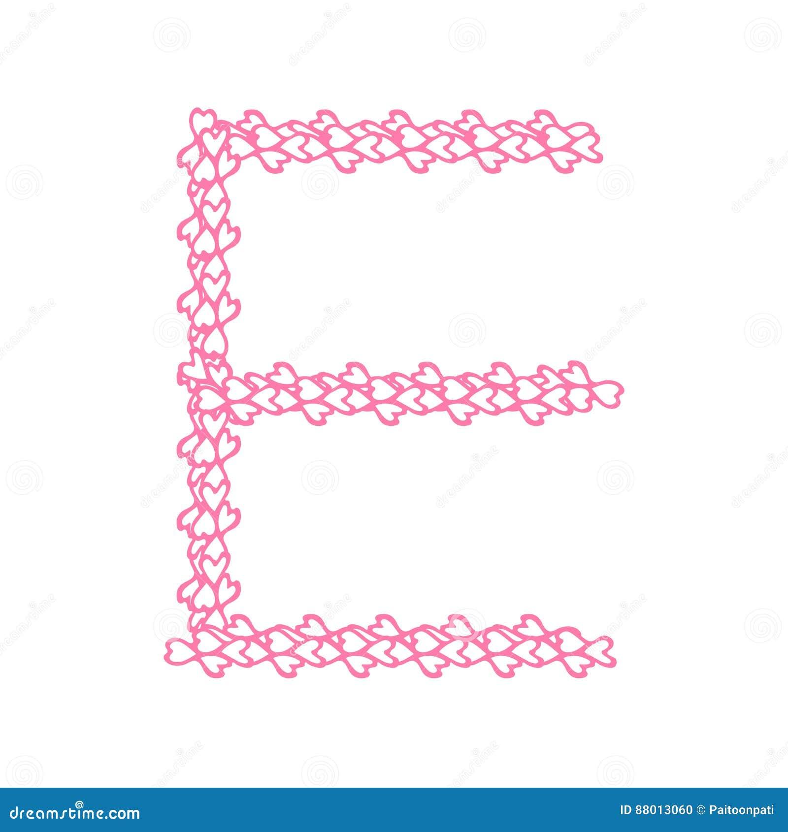 The Letter E, In The Alphabet Heart Flower Petals Illustration Stock ...