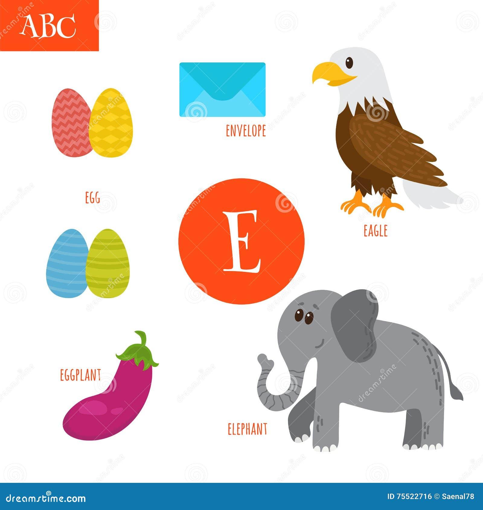 Letter E. Cartoon Alphabet For Children. Egg, Eggplant