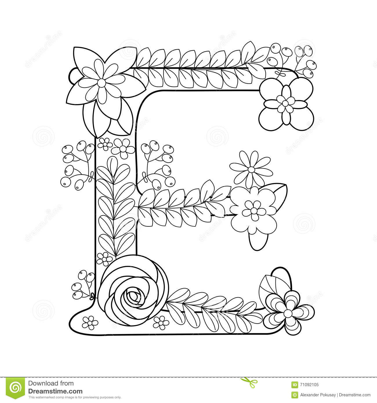 Letter E Coloring Book For Adults Vector Stock Vector Illustration