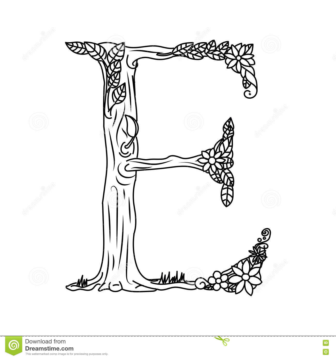 Letter E Coloring Book For Adults Vector Stock Vector - Image ...