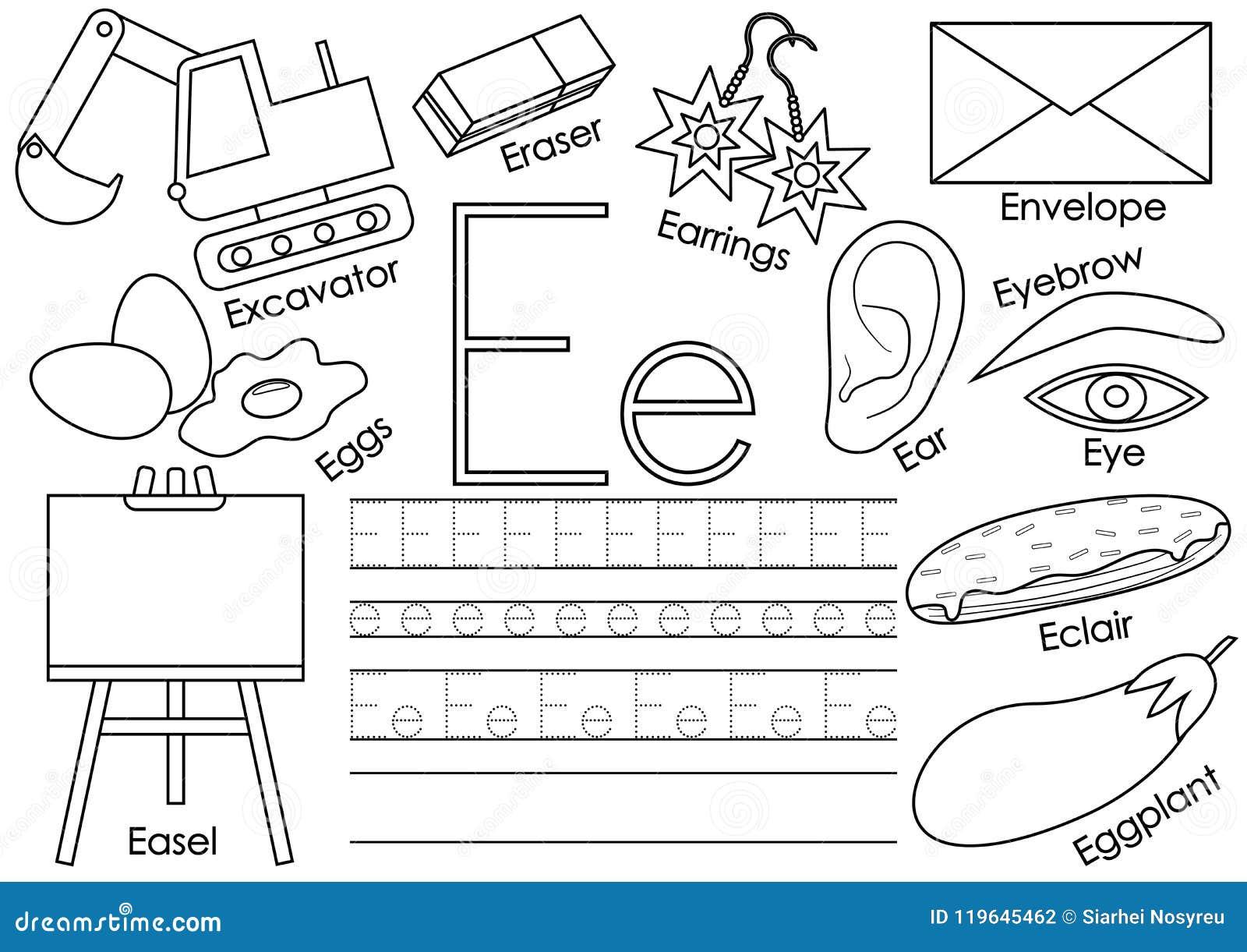 Letter E English Alphabet Educational Game For Children Stock