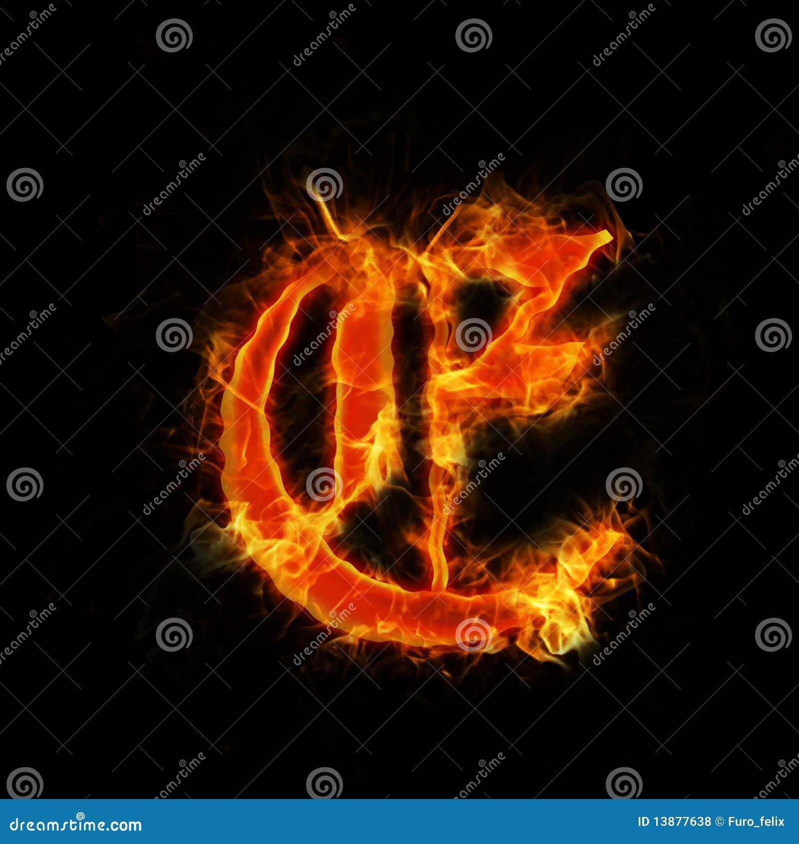 Letter E In Flames Stock Illustration. Illustration Of