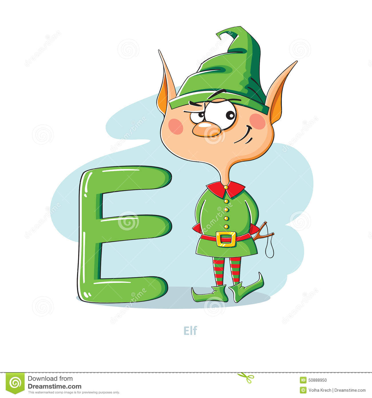 Letter E With Funny Elf Stock Vector - Image: 50888950