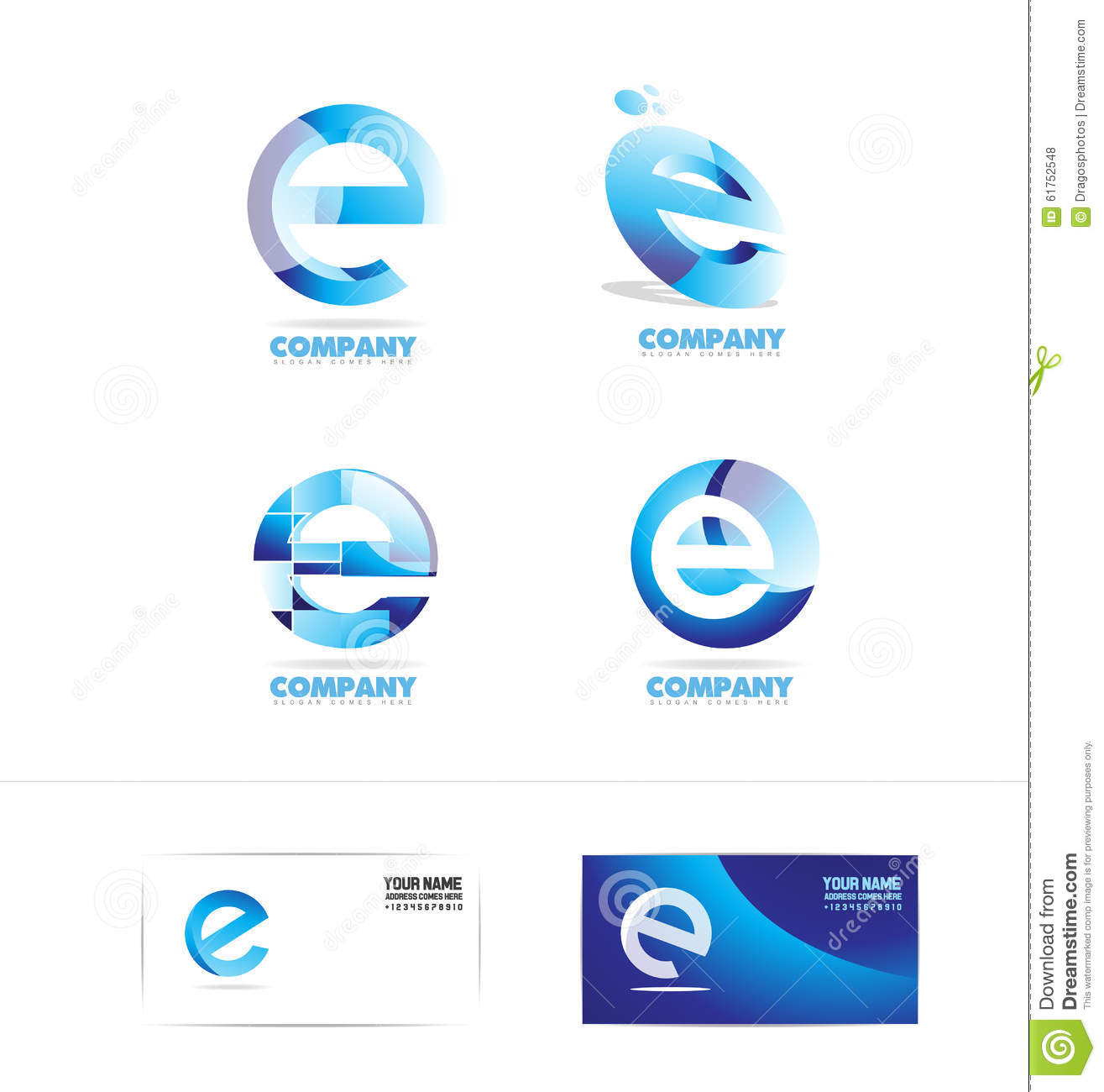 Letter E Logo Icon Set Stock Vector Illustration Of Graphic