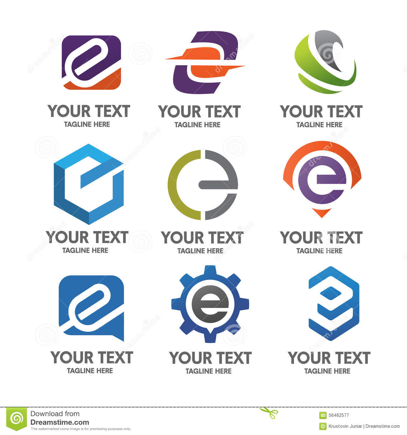 Letter E Logo Set Stock Vector Illustration Of Action