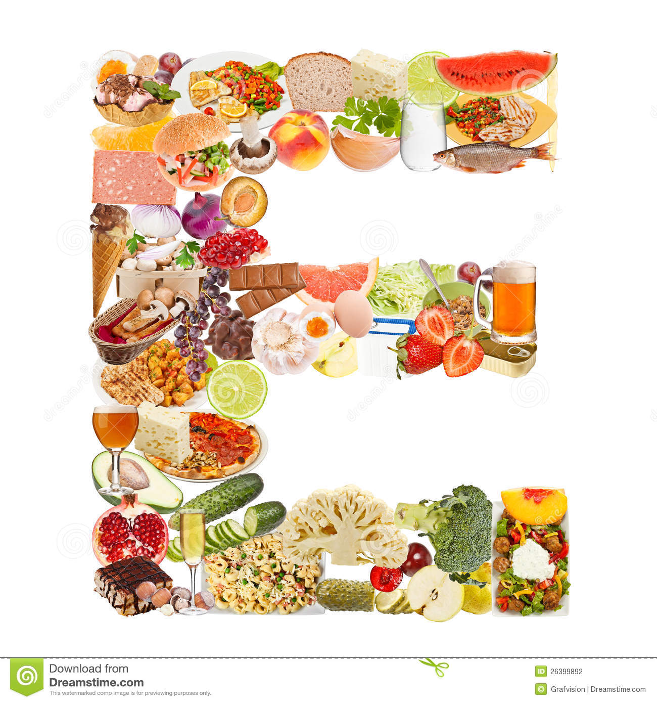 Letter E made of food stock photo. Image of healthy, beer   26399892