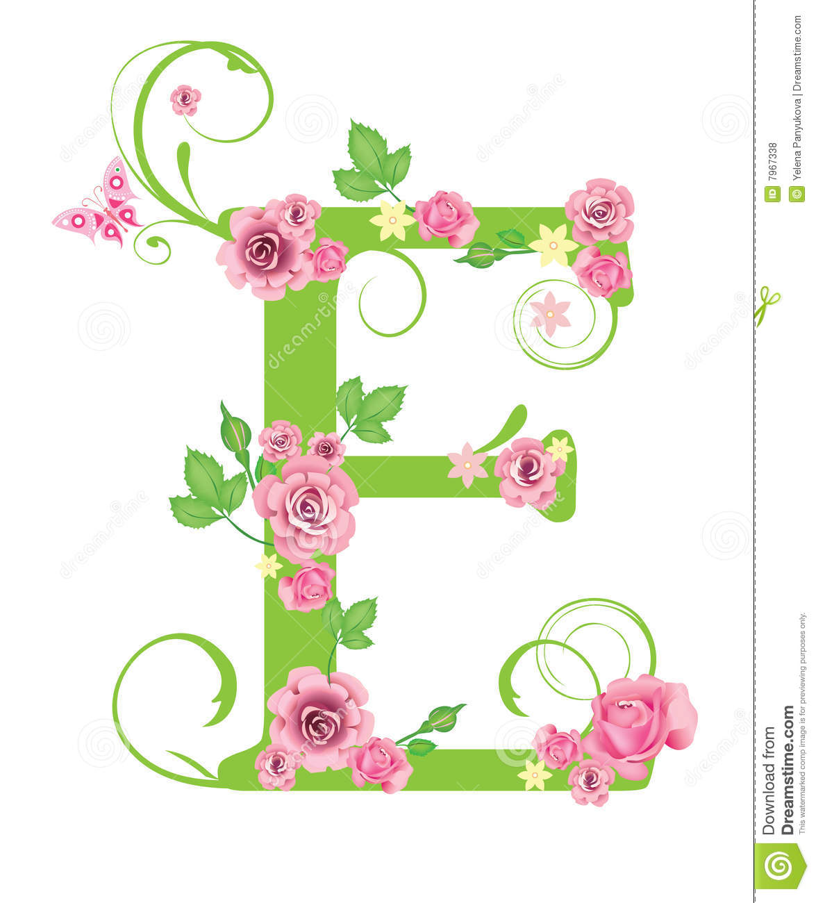 Letter E With Roses