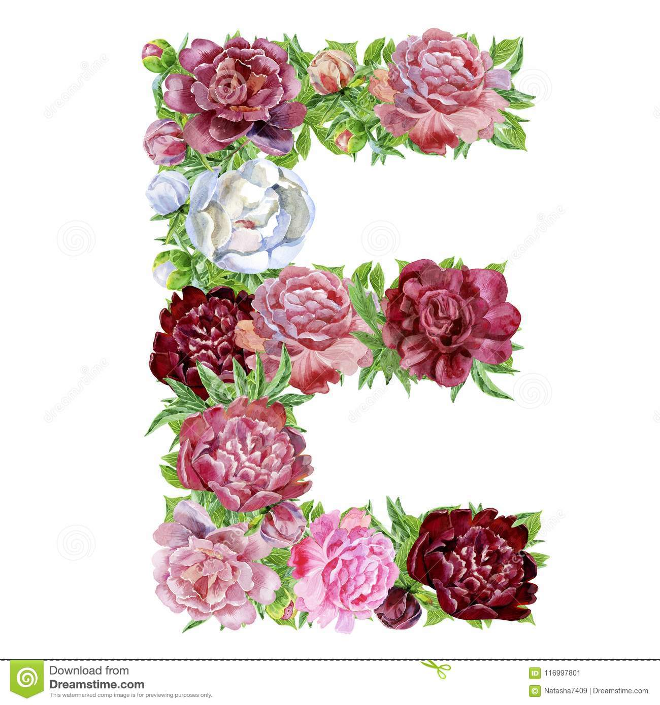 Letter E of watercolor flowers