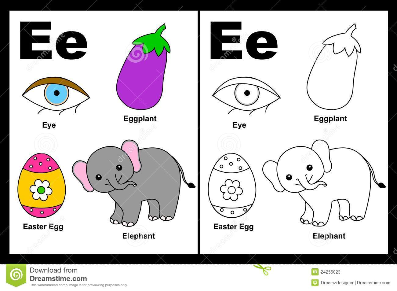 Alphabet letter e with colorful cliparts and coloring graphics