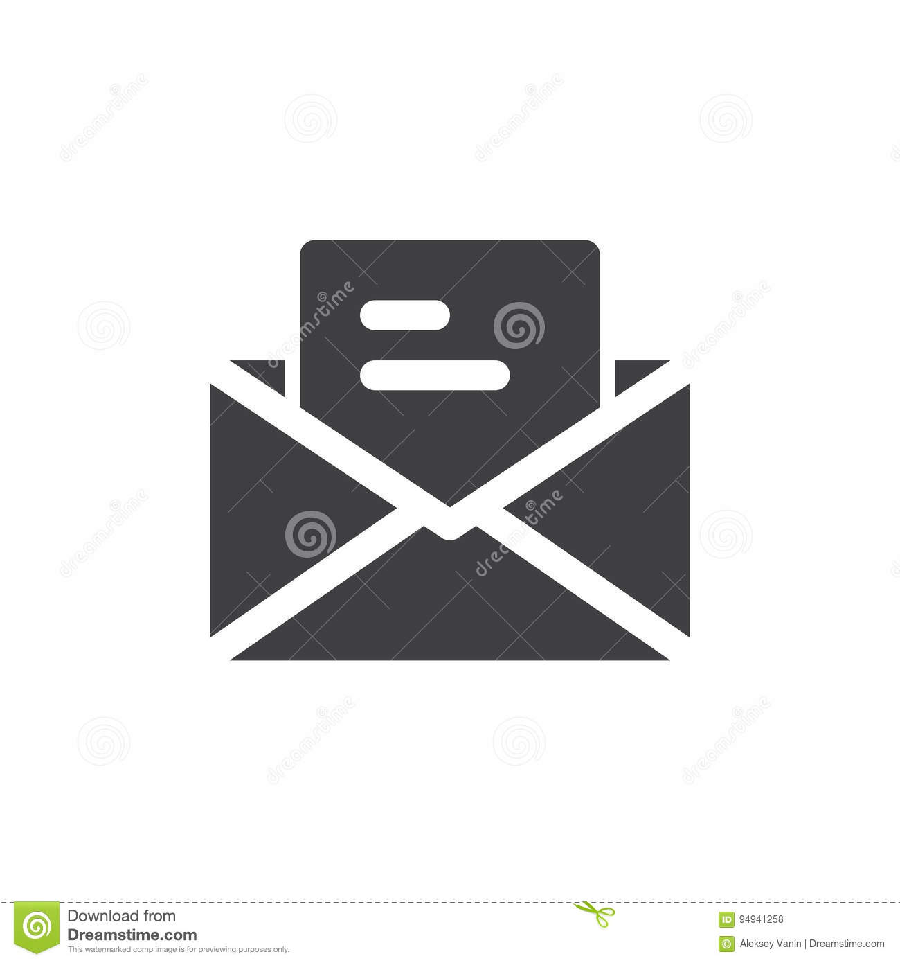 Letter Email Icon Vector Filled Flat Sign Solid Pictogram