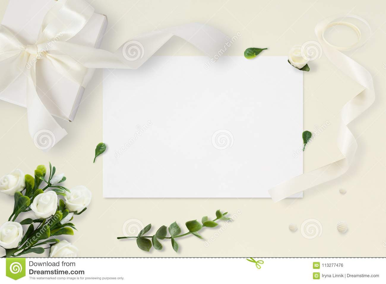 Letter, Envelope And A Present On Pastel Yellow Background. Wedding ...