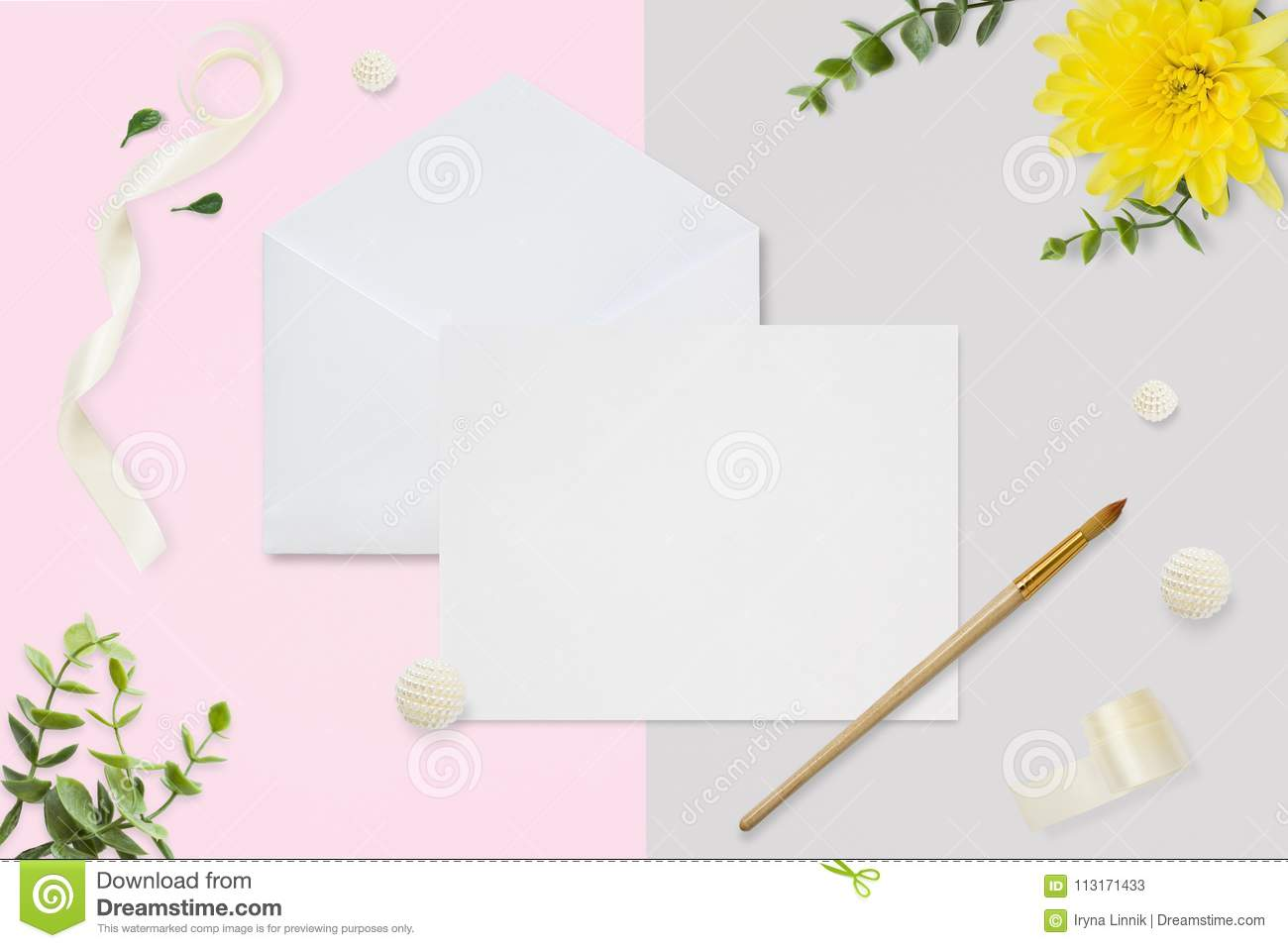 Letter, Envelope And A Present On Pastel Pink Gray Background ...