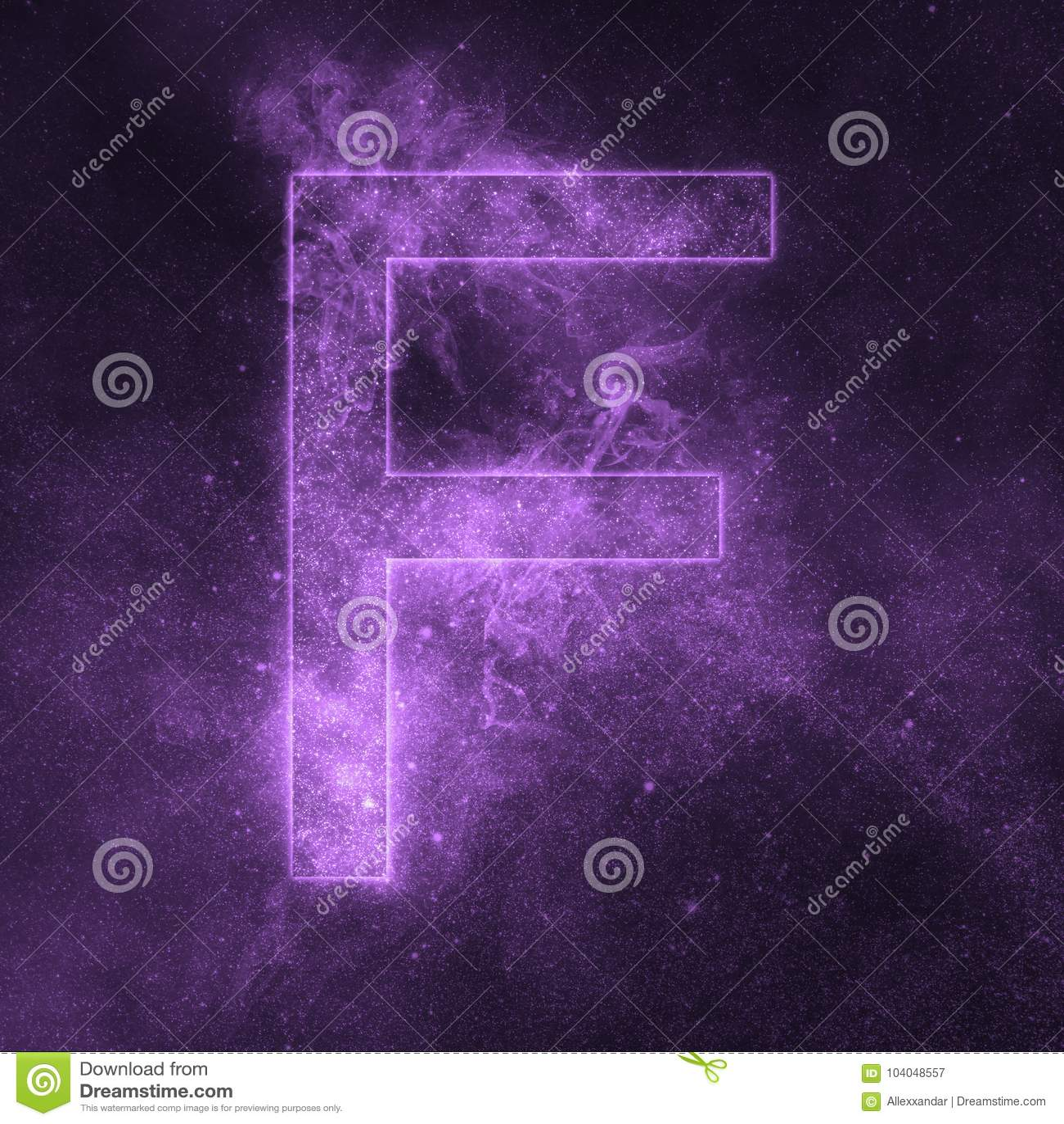 Letter F alphabet symbol. Space Letter, Night Sky Letter.
