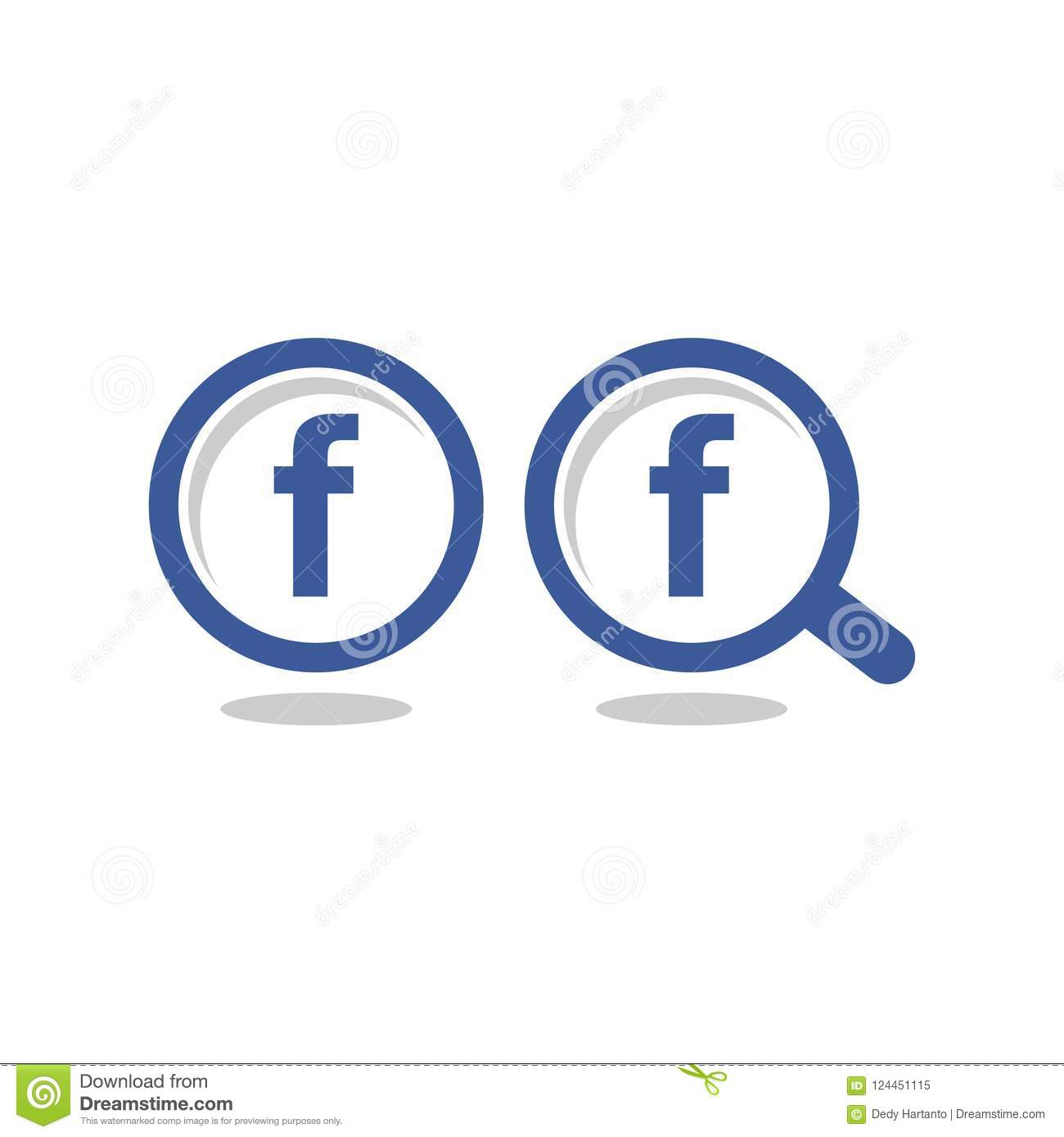 Facebook Icon Letter F Blue Circle Magnify Glass Vector Icon