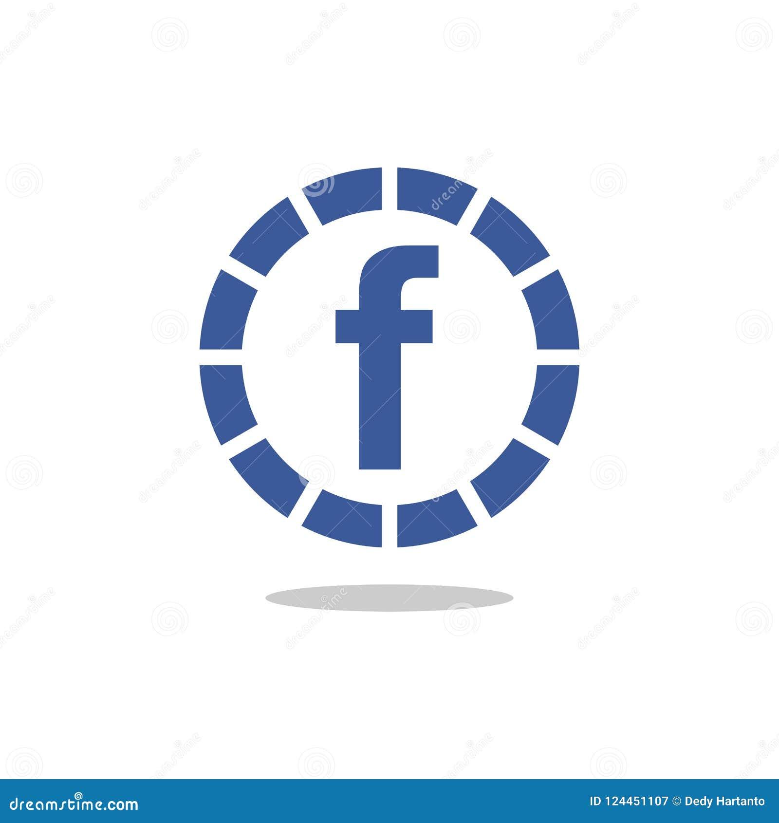 Facebook Icon Letter F Blue Circle Vector Icon Editorial