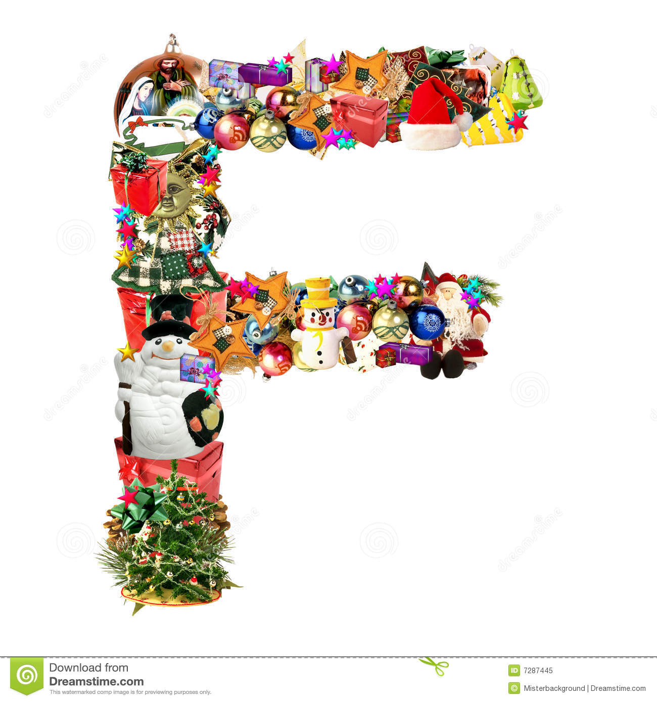 Letter f for christmas decoration stock illustration for Letter f decoration