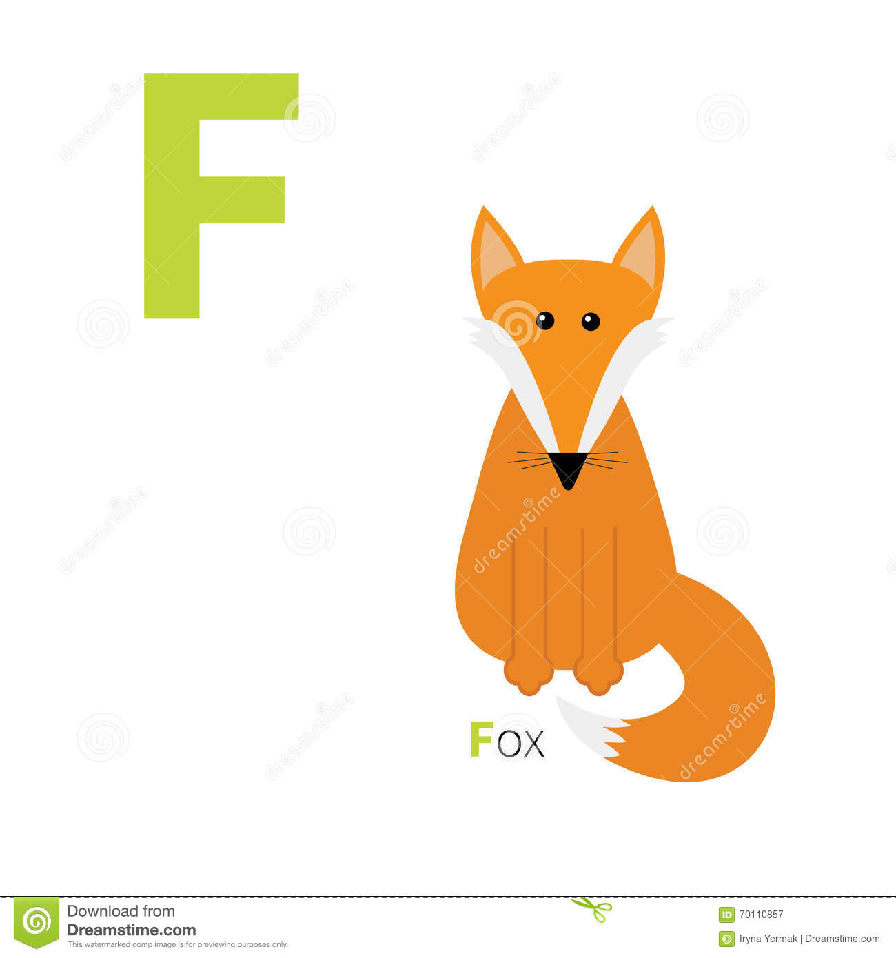 Letter F Fox Zoo Alphabet English Abc With Animals Education Cards For Kids White Background